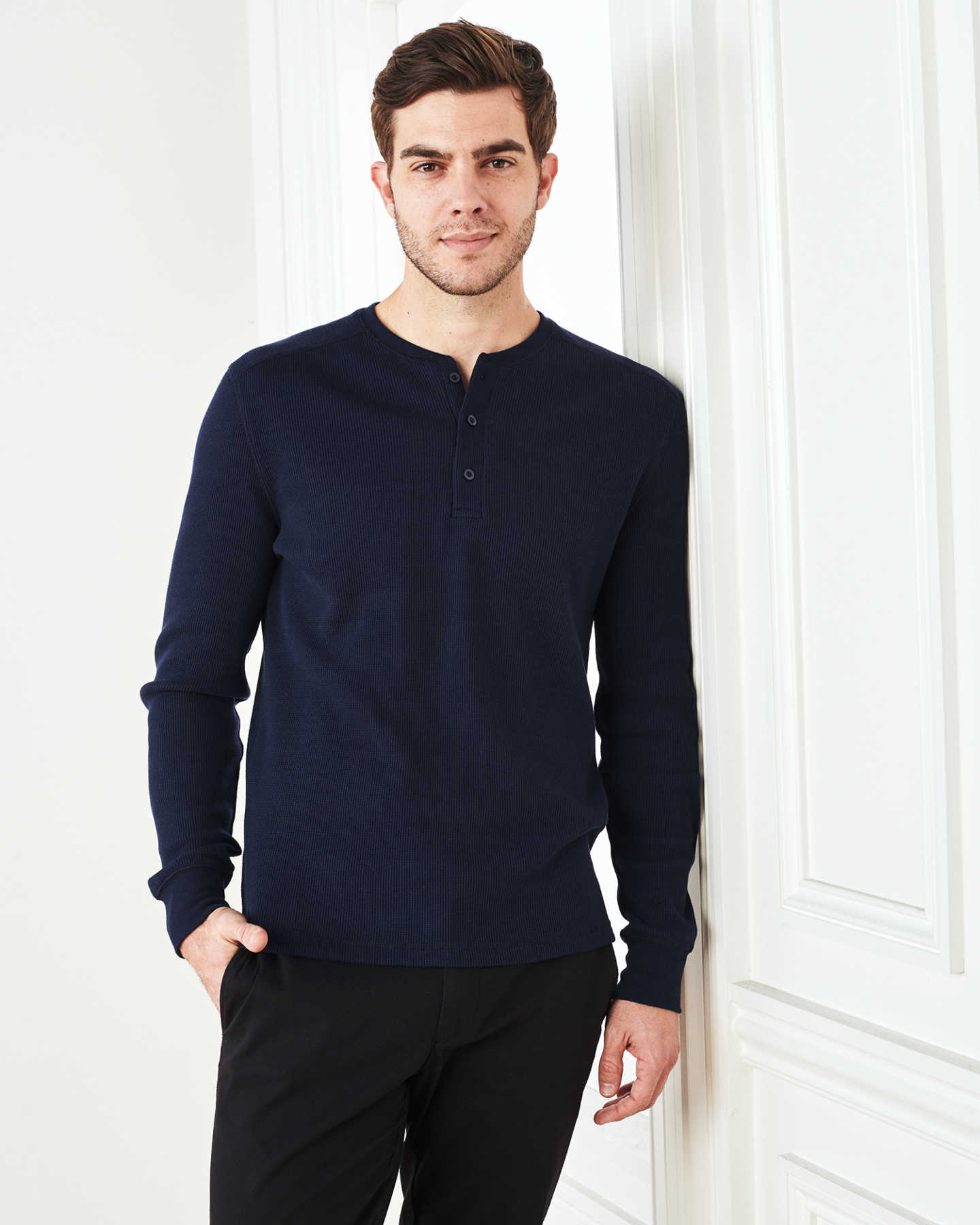 Pair With - Luxe Organic Waffle Thermal Henley - Navy