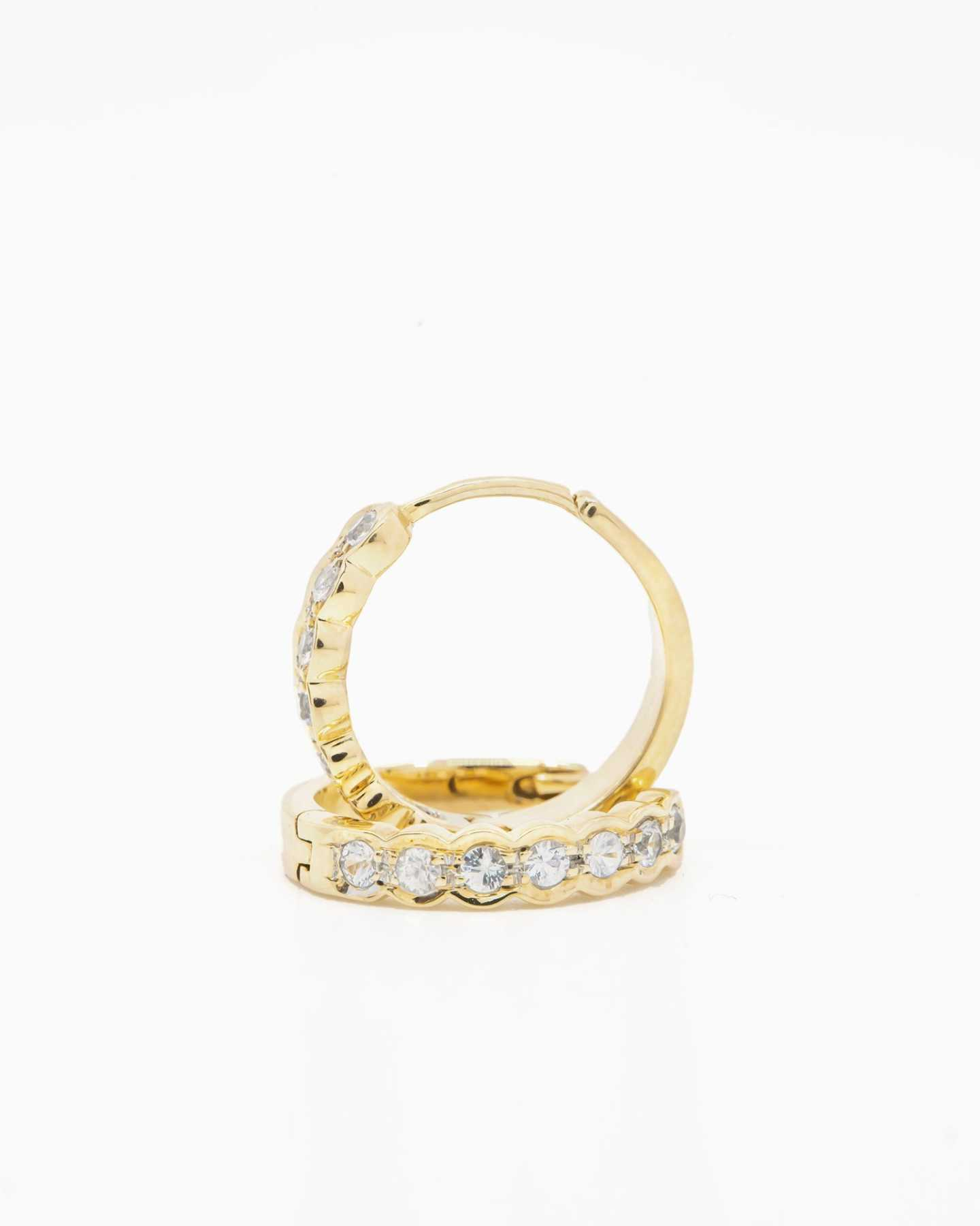 White Sapphire Huggie Earrings - Gold Vermeil - 2