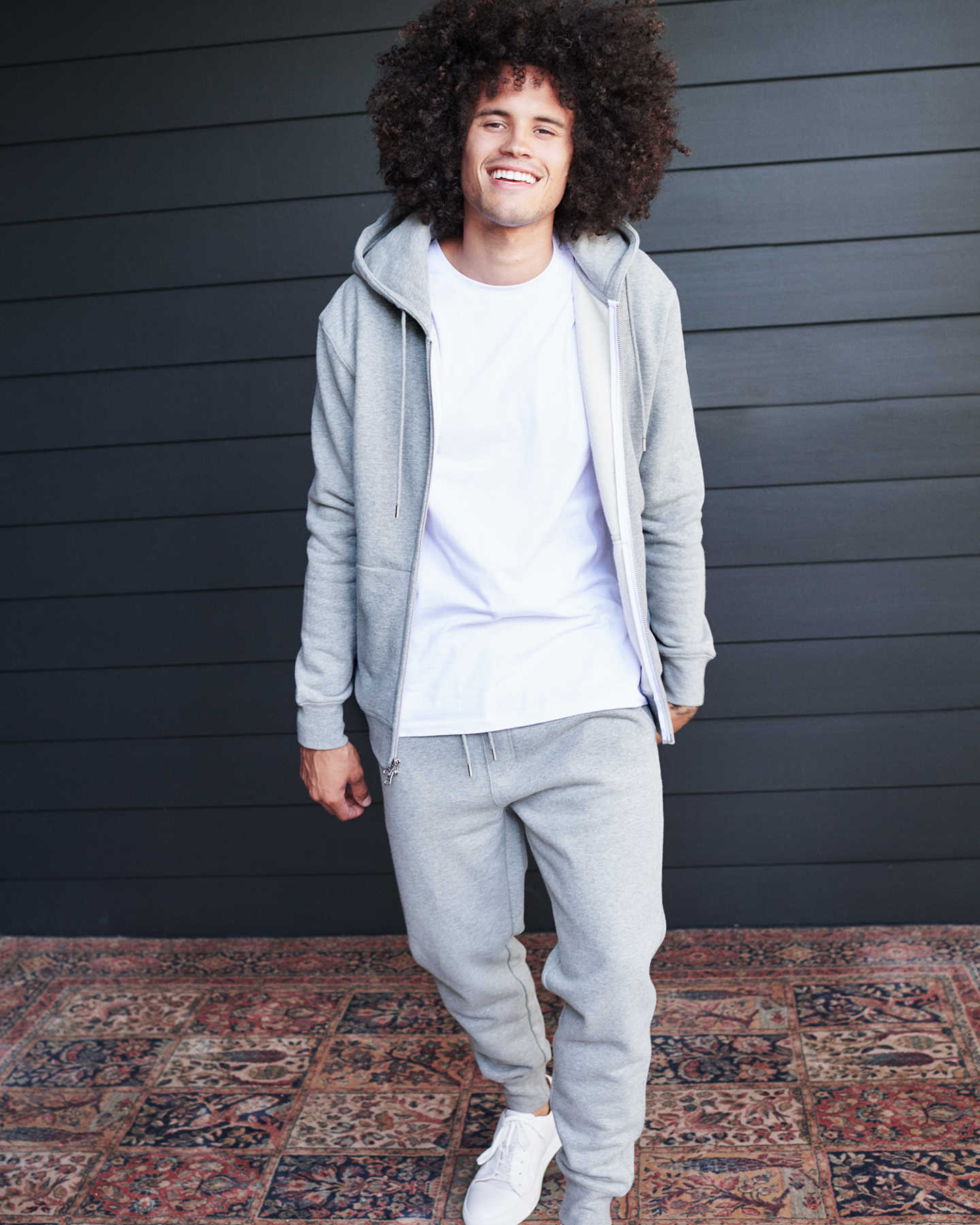 Heavyweight Organic Fleece Full-Zip Hoodie - Heather Grey