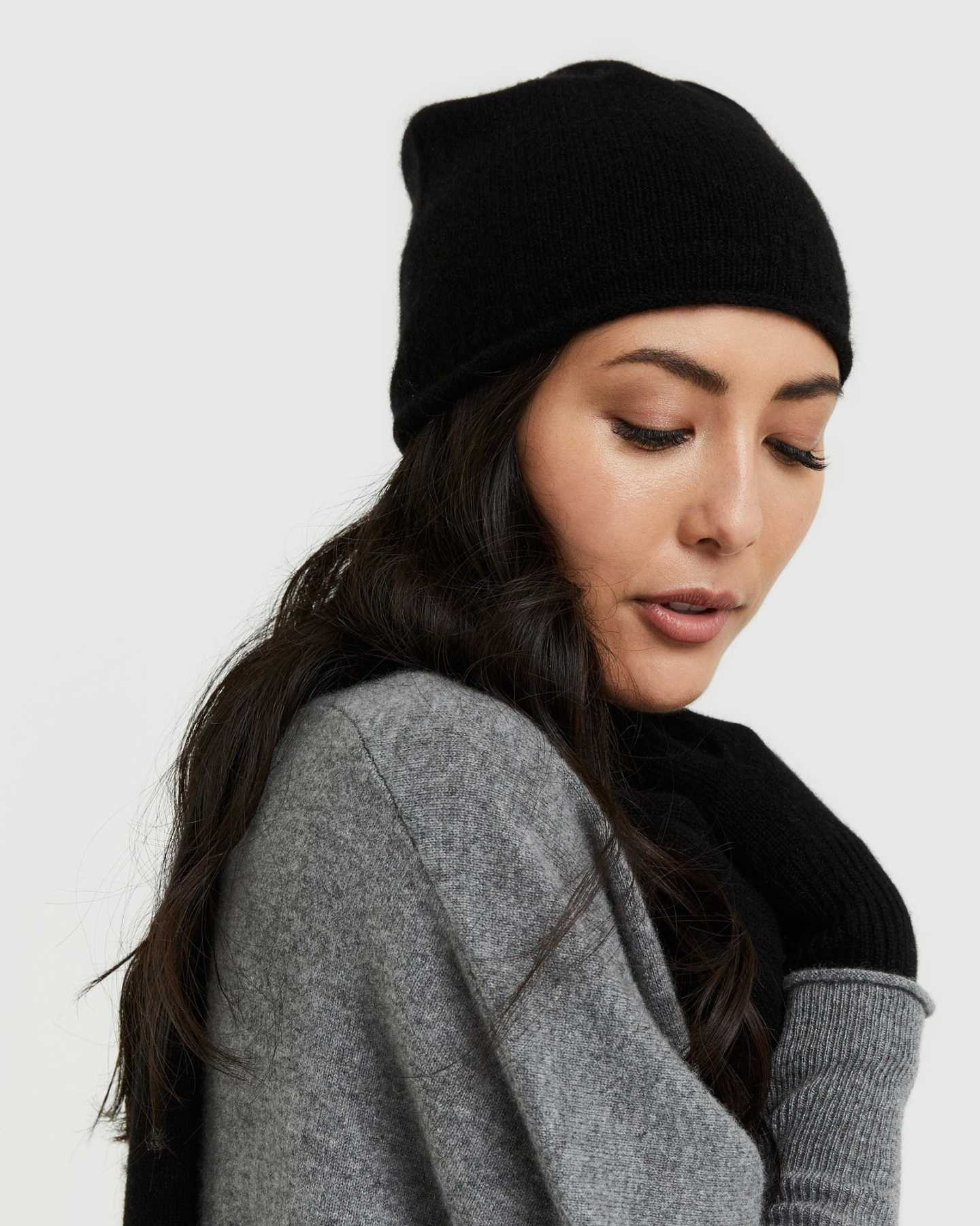 You May Also Like - Mongolian Cashmere Slouchy Beanie - Black