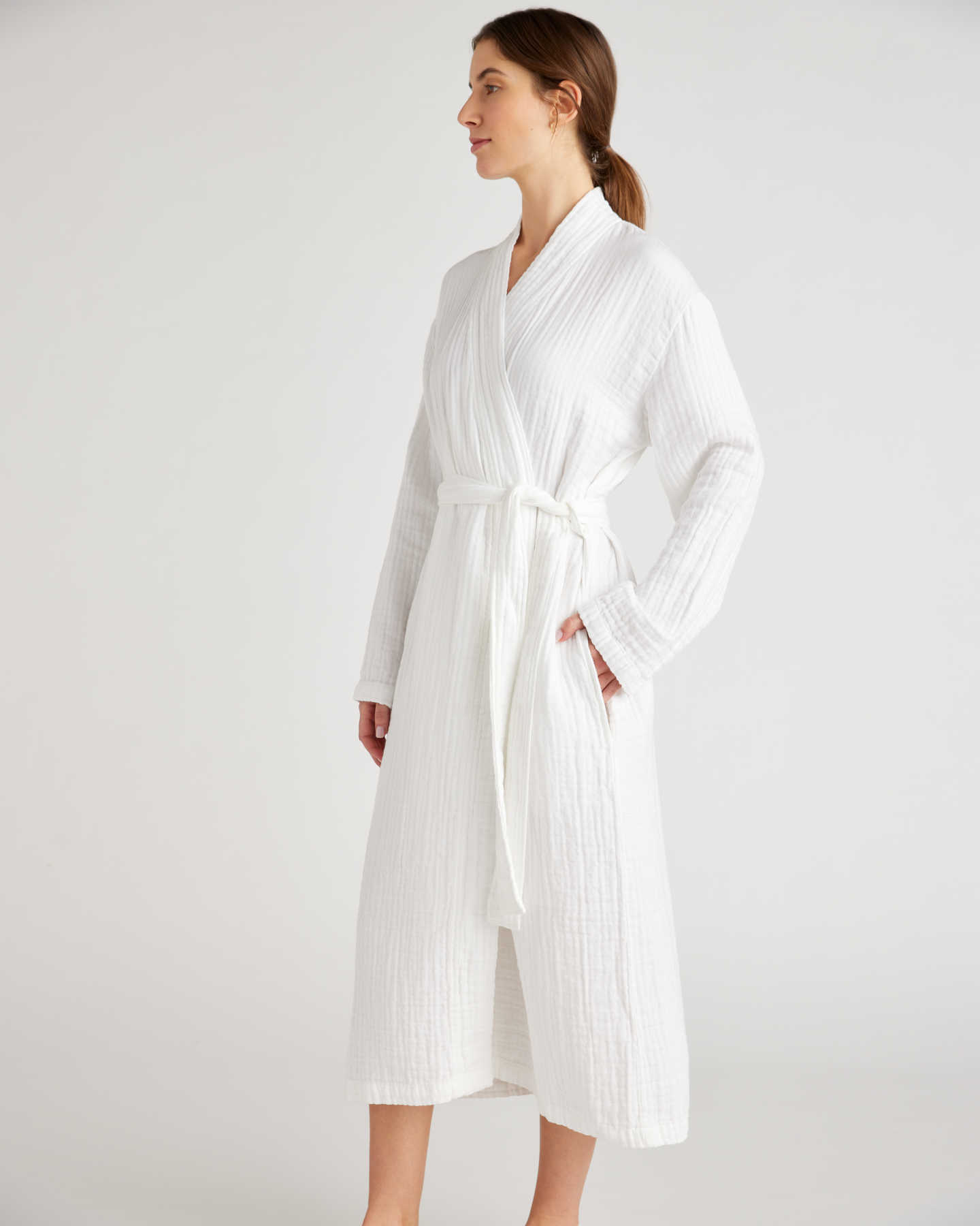 Organic Turkish Cotton Gauze Robe - White - 1