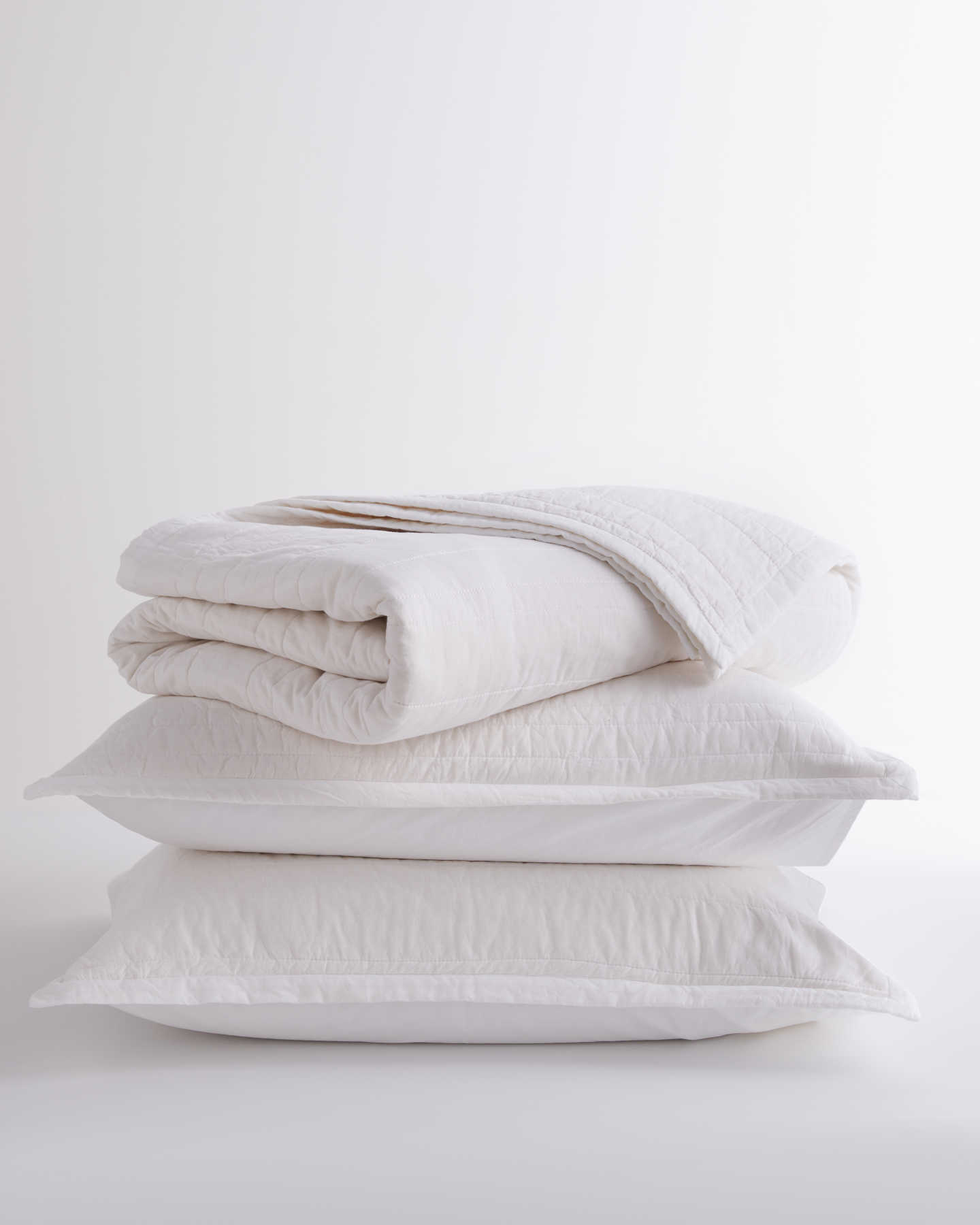 100% Organic Cotton Quilt Set - White