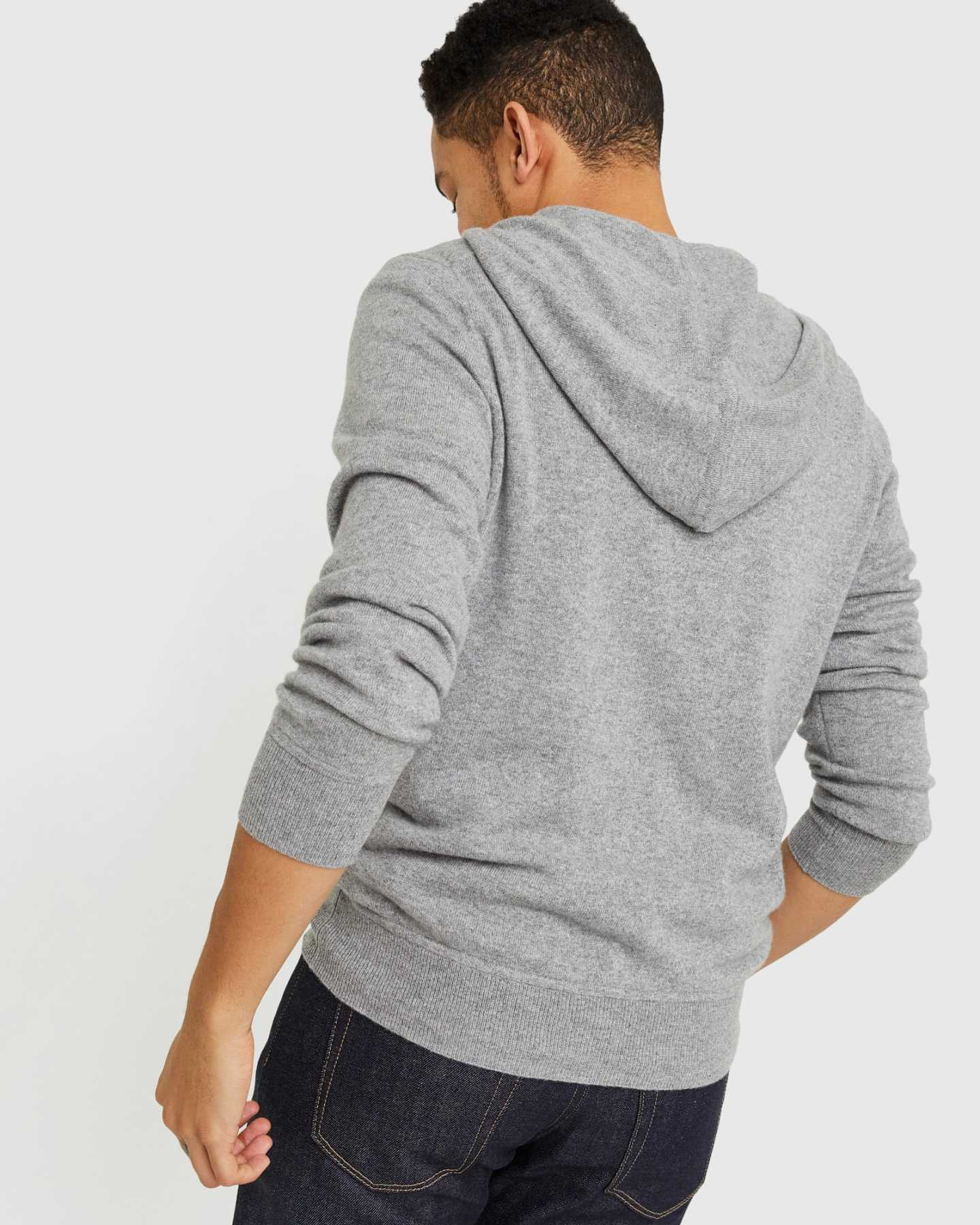 mens cashmere zip hoodie in grey rocking