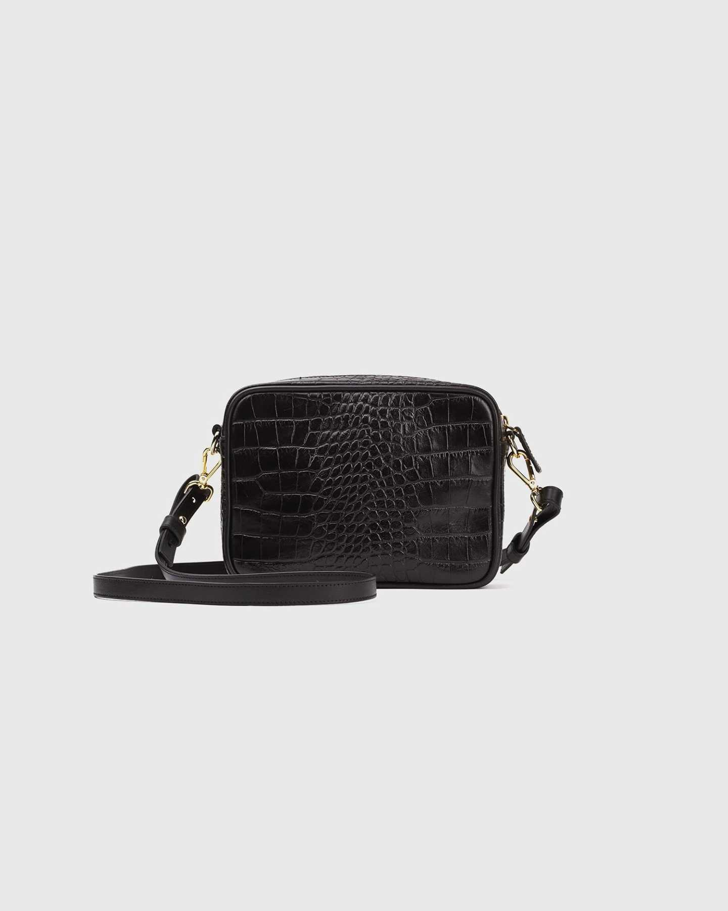 Small black leather crossbody bag with croco emboss