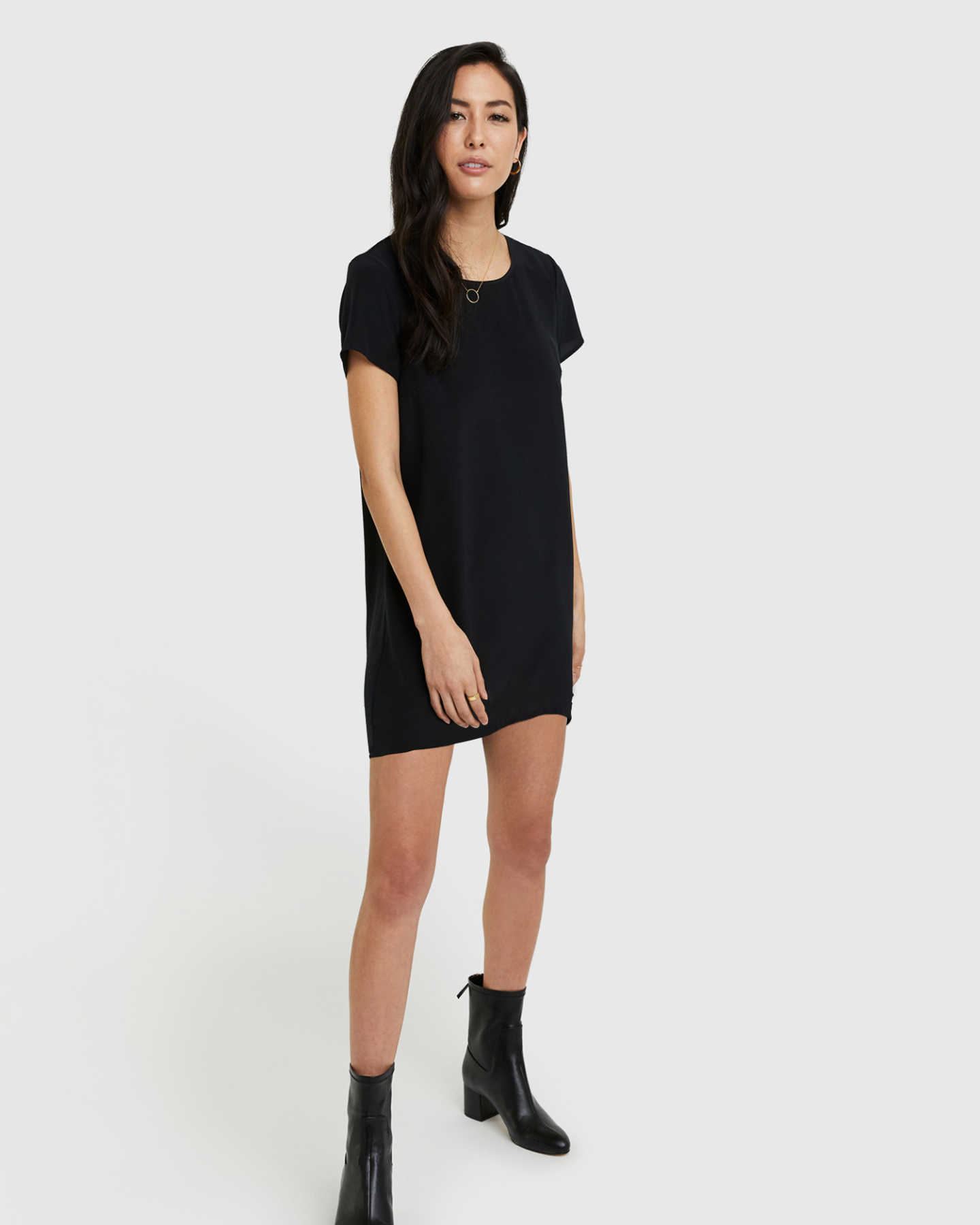 Washable Stretch Silk Tee Dress - Black - 0