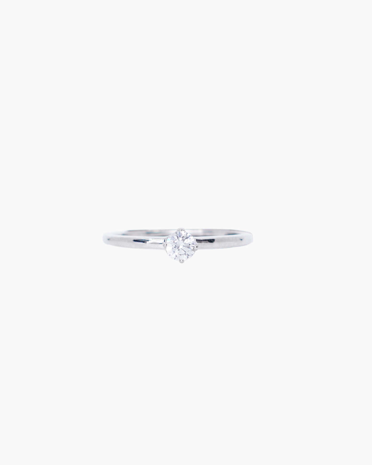 Solitaire Diamond Engagement Ring - White Gold - 1