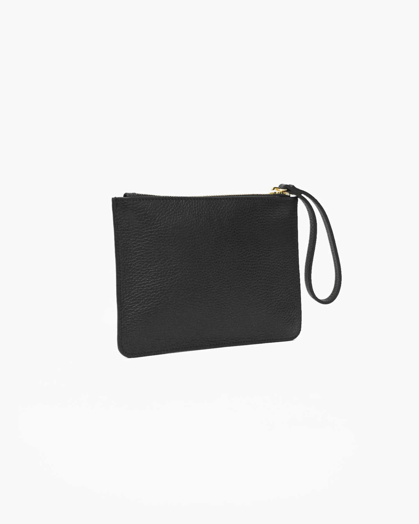 Italian Pebbled Leather Wristlet - Black - 1