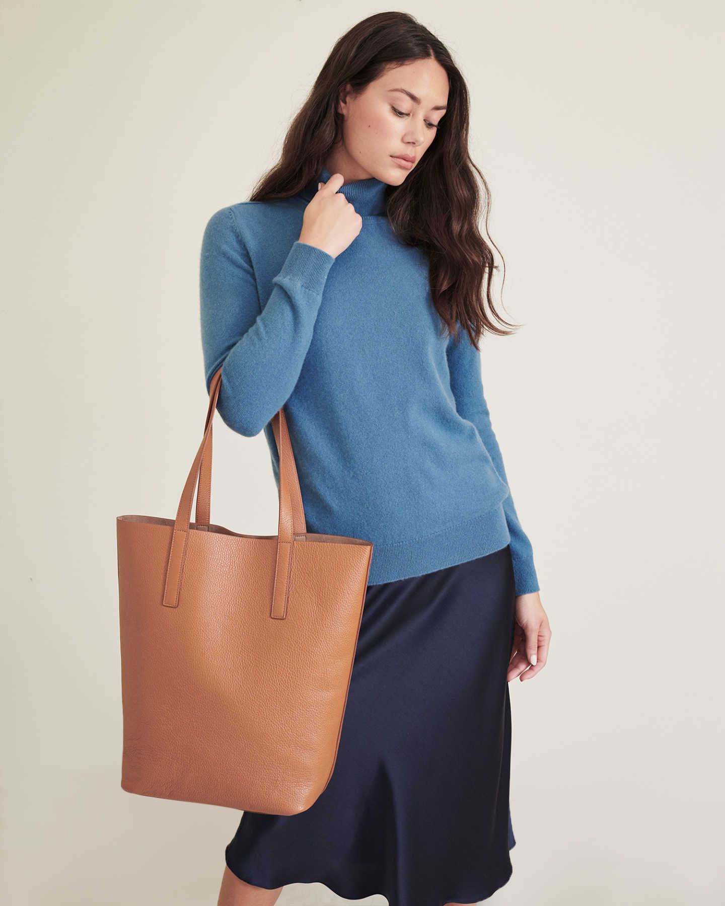 Tall Italian Leather Tote - Cognac - 10