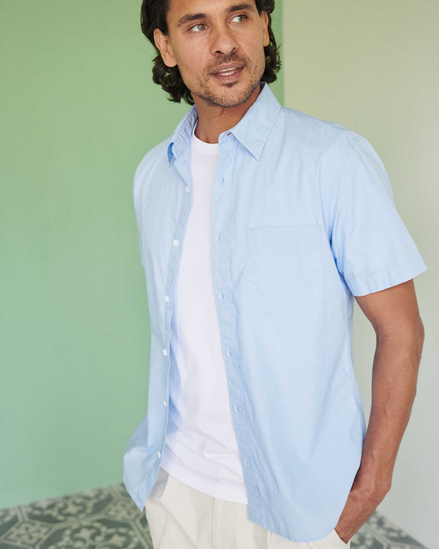 Organic Short Sleeve Stretch Poplin Shirt - Light Blue