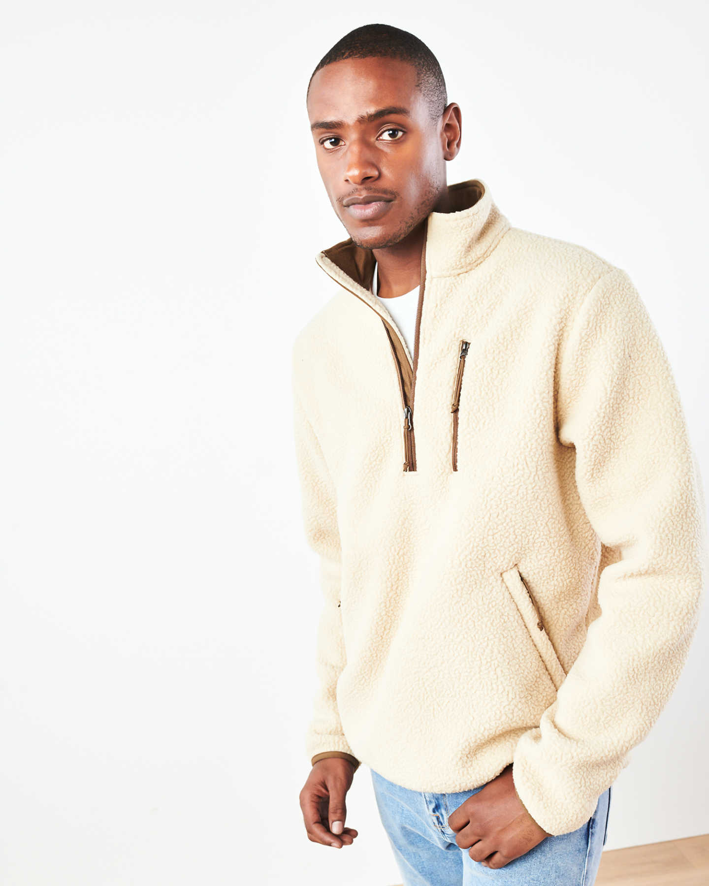 Recycled Sherpa Fleece Pullover Jacket - undefined - 1