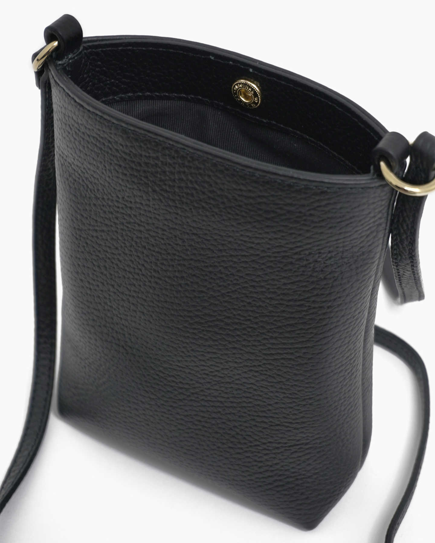 Italian Pebbled Leather Phone Crossbody - Black - 9