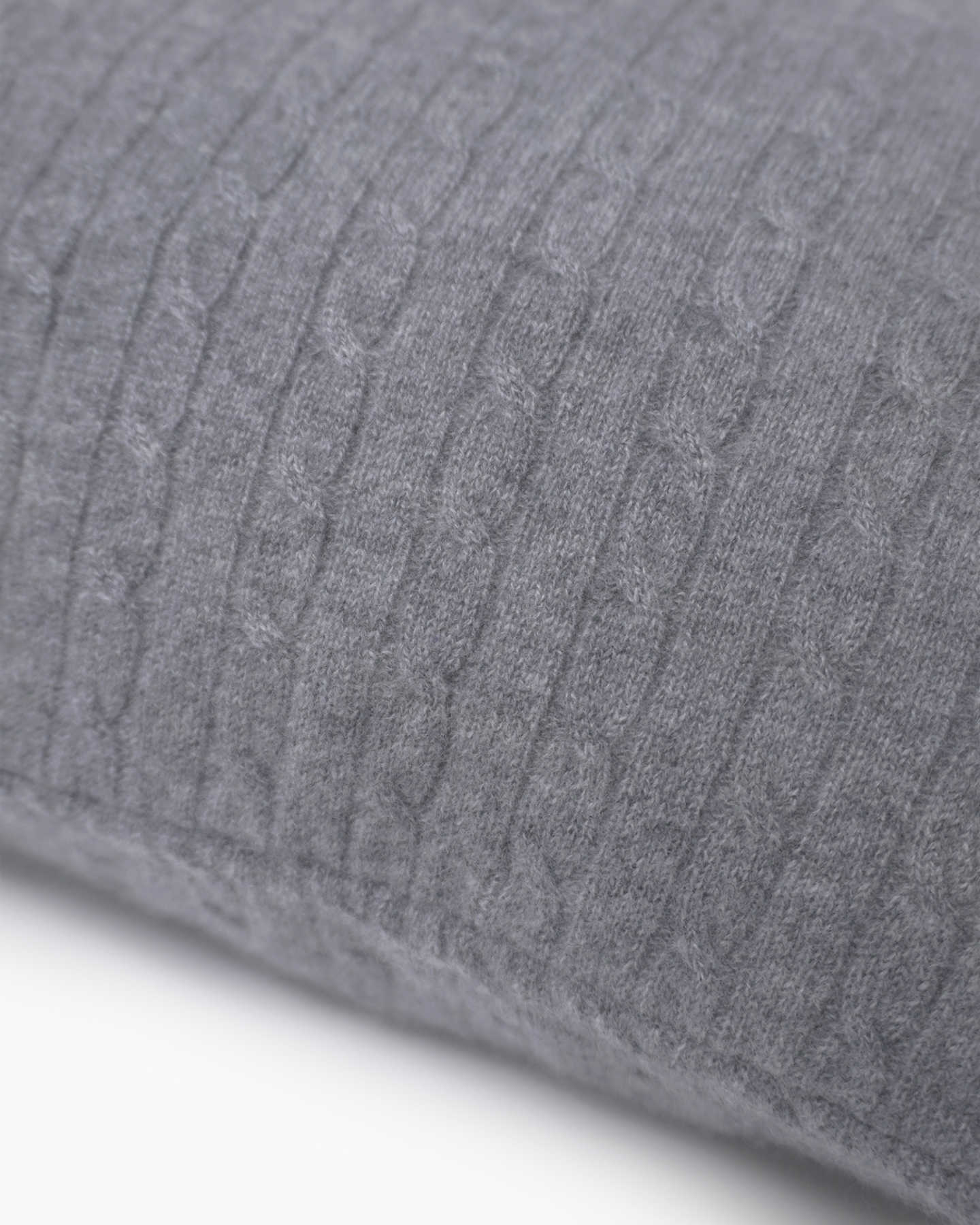 Cable Knit Cashmere Pillow Cover - Heather Grey - 1