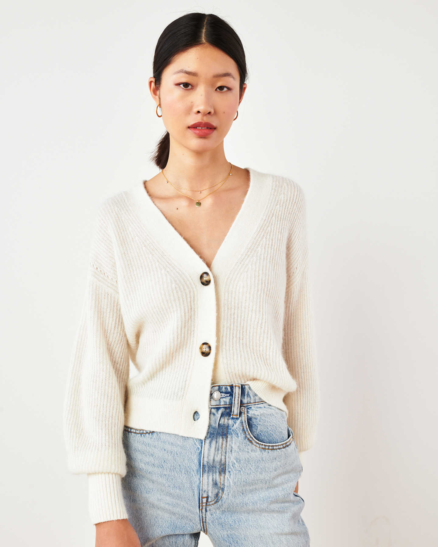 Superfine Alpaca Cropped Cardigan  - Ivory