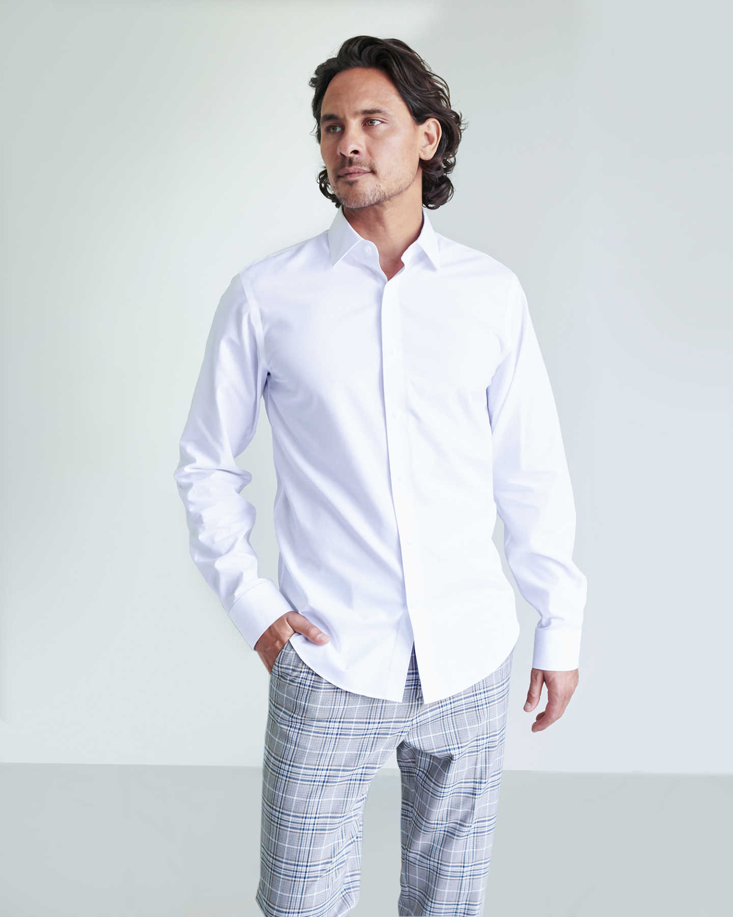 120s Supima Dress Shirt (w/ WrinkleGuard) - White