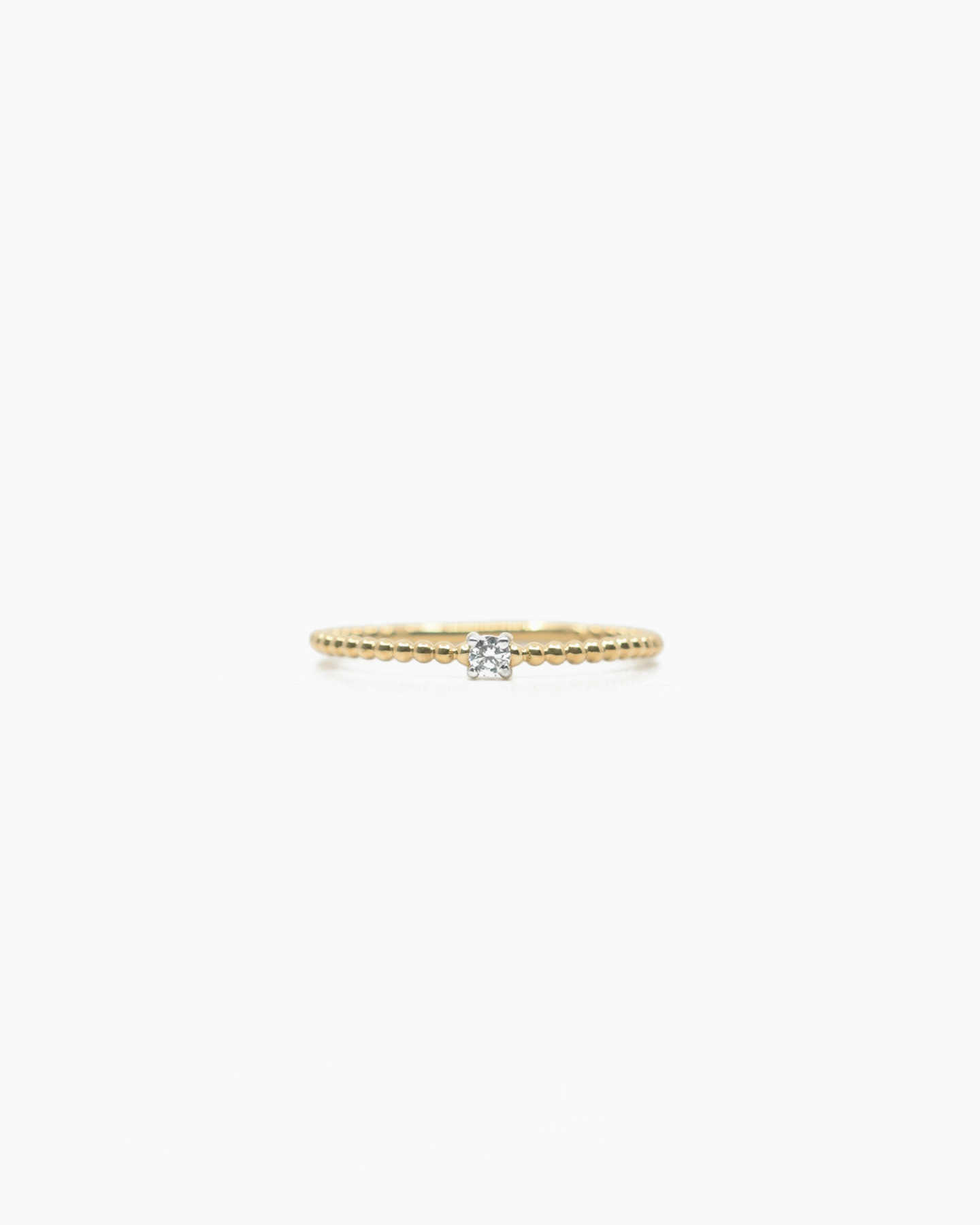 Diamond Beaded Ring - Yellow Gold - 1