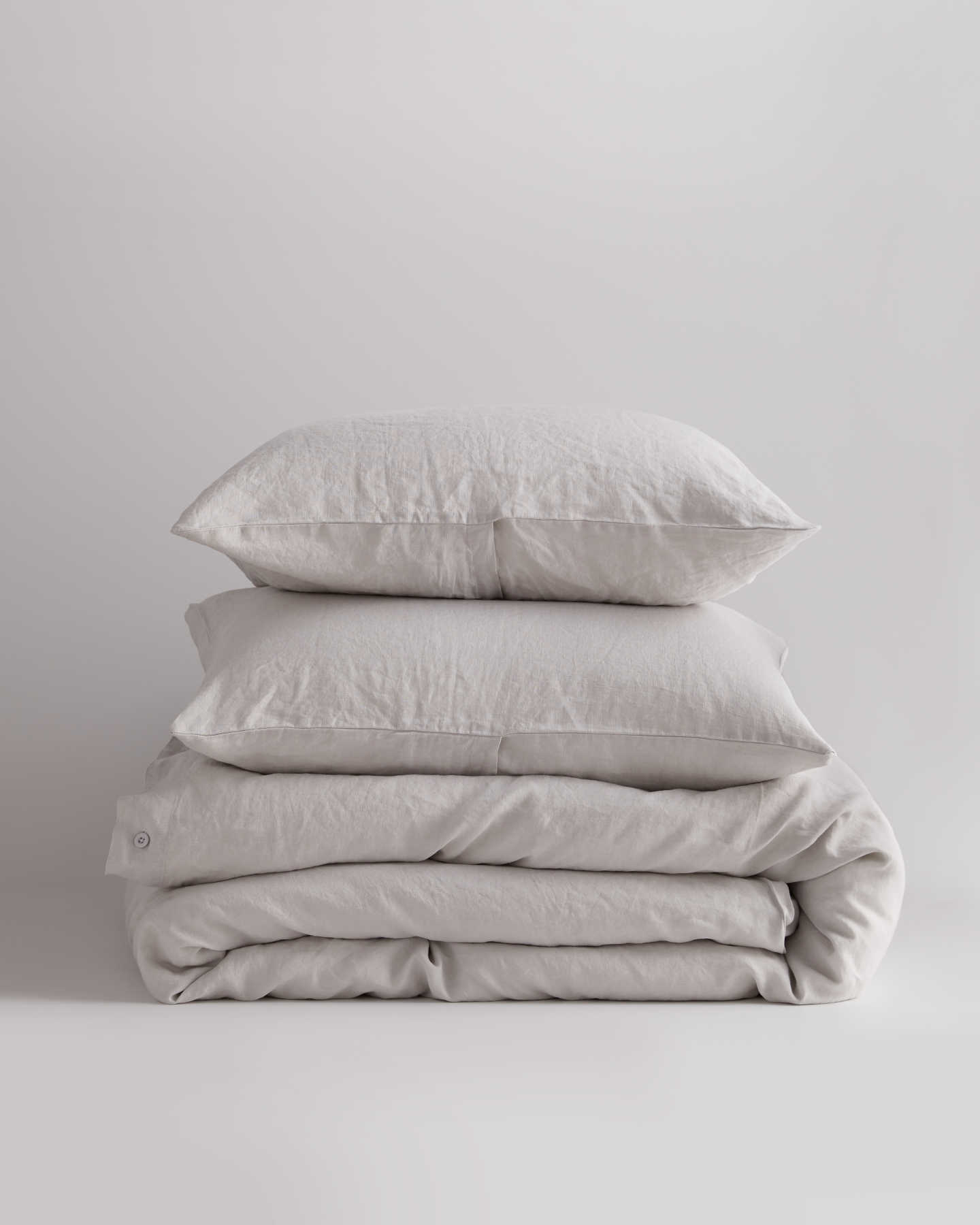 Belgian Linen Duvet Cover Set - Light Grey - 0