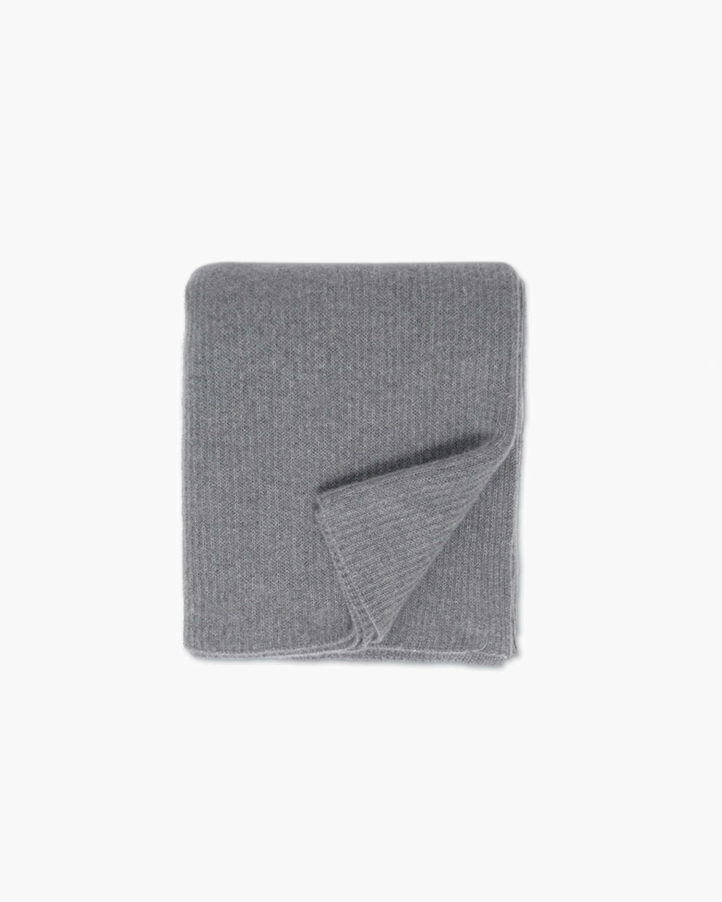 Ribbed Knit Cashmere Throw - Heather Grey - 0 - Thumbnail