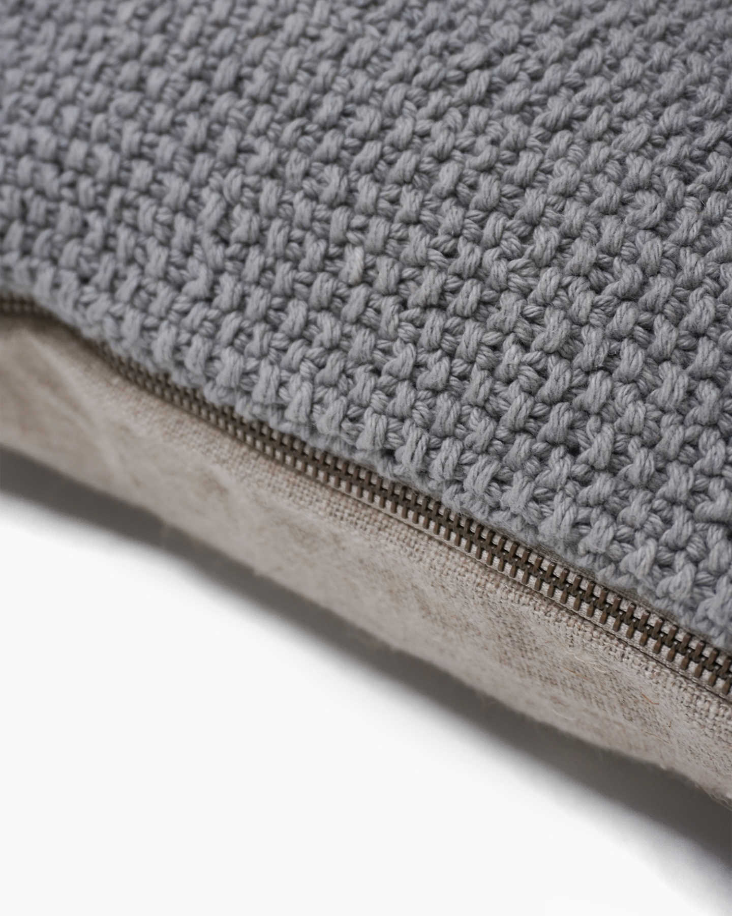 Textured Cotton Pillow Cover - Grey - 1