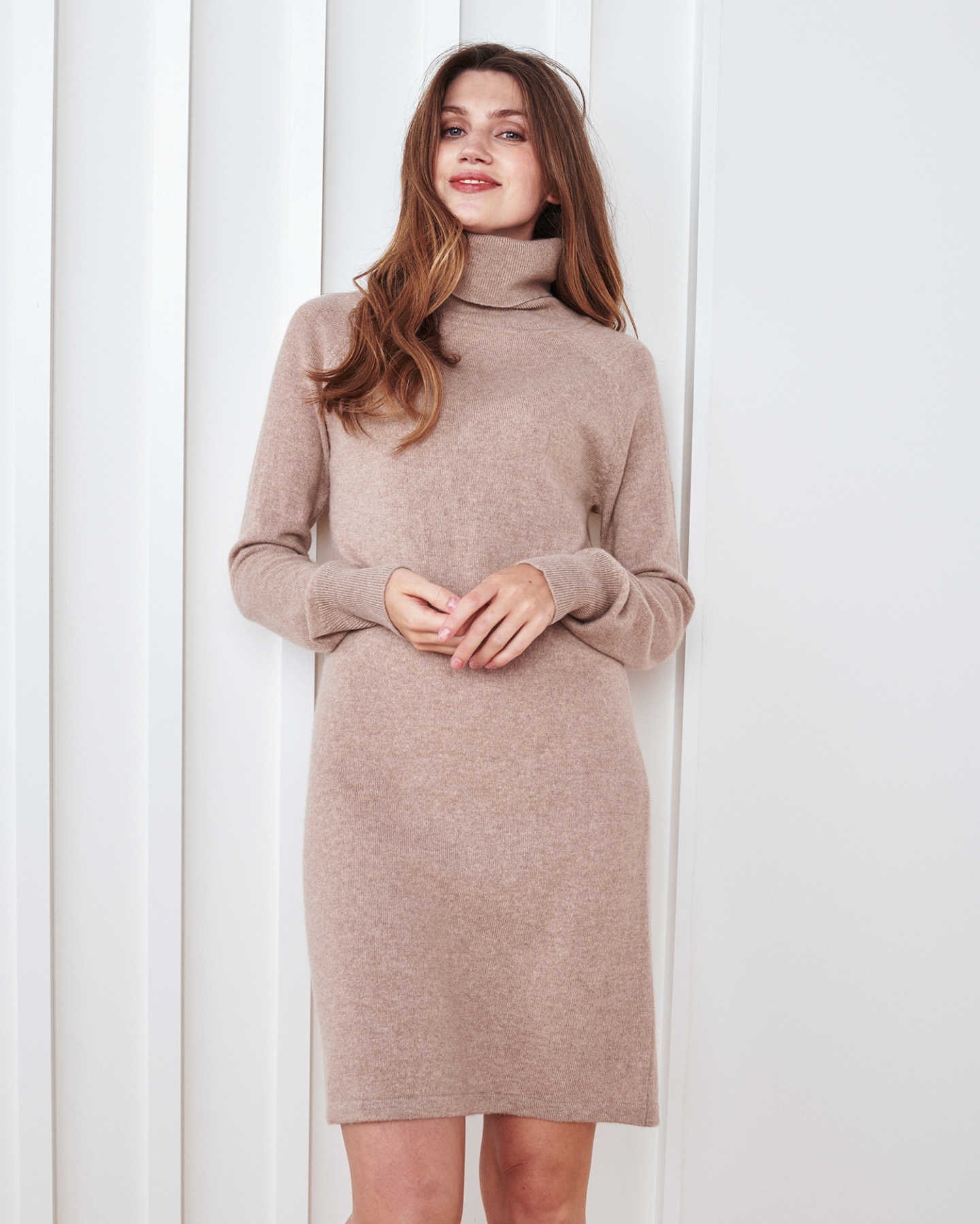 Mongolian Cashmere Turtleneck Dress - Oatmeal