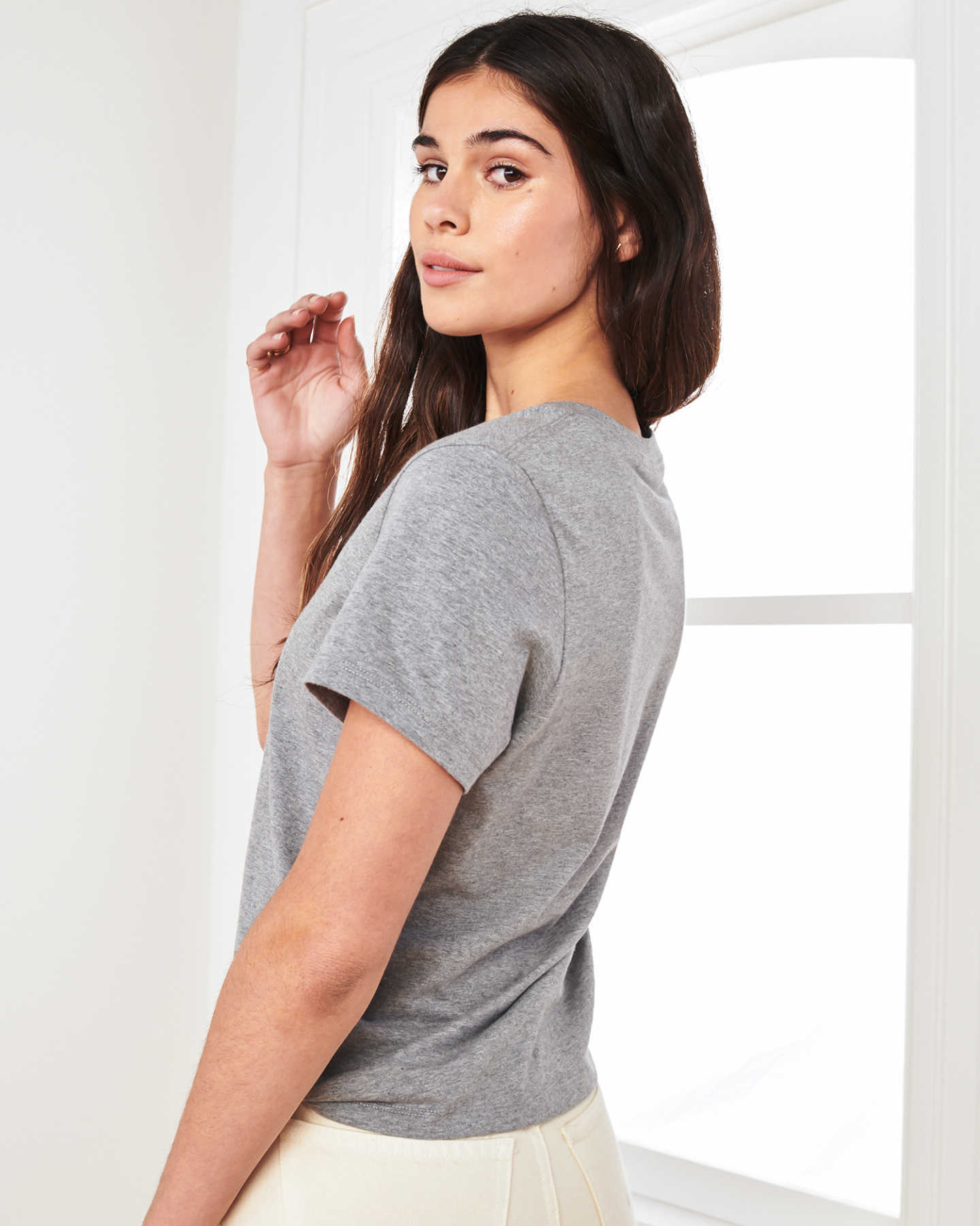 Vintage Wash V Neck Tee - Heather Grey - 3