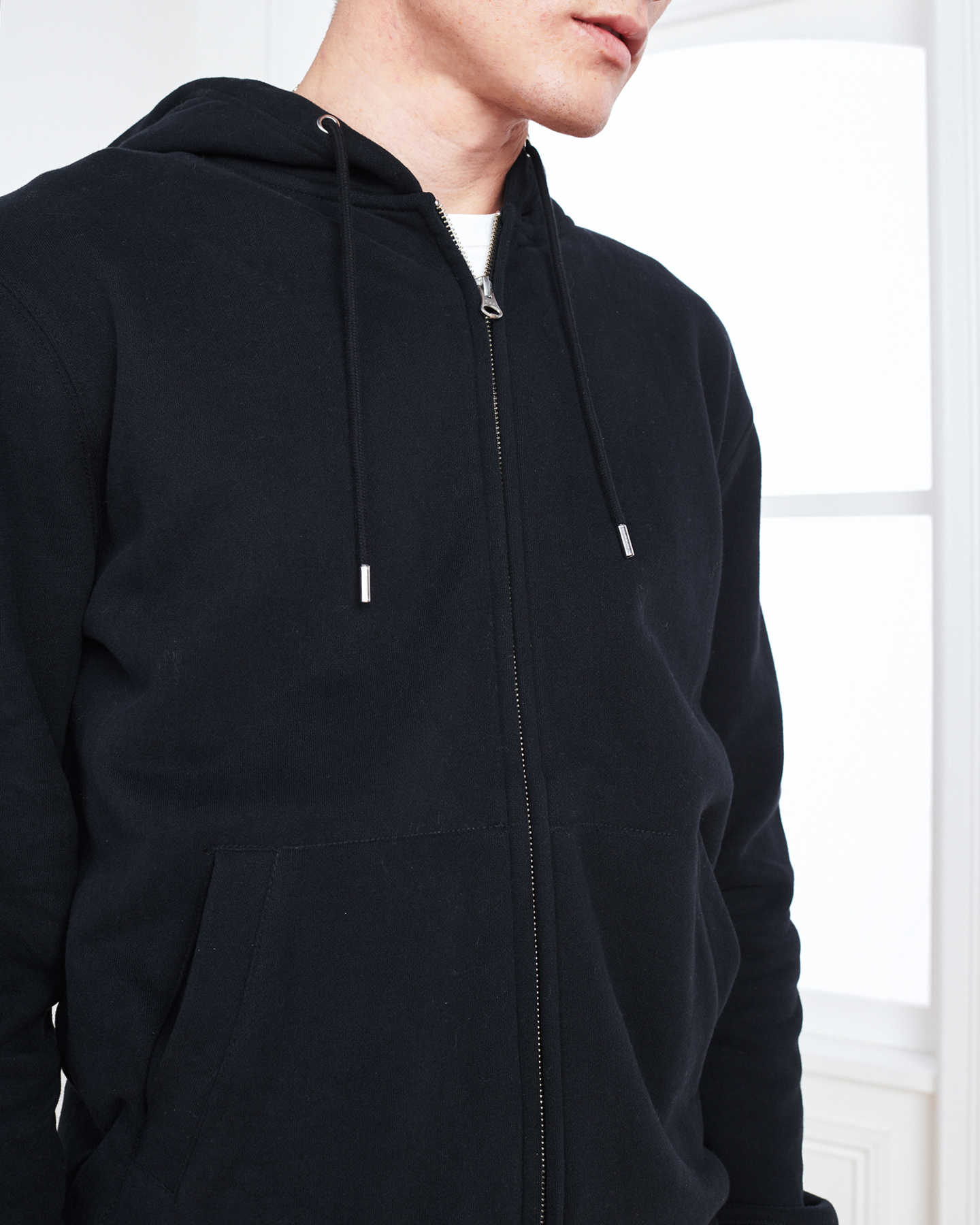 Heavyweight Organic Fleece Full-Zip Hoodie - Black - 4
