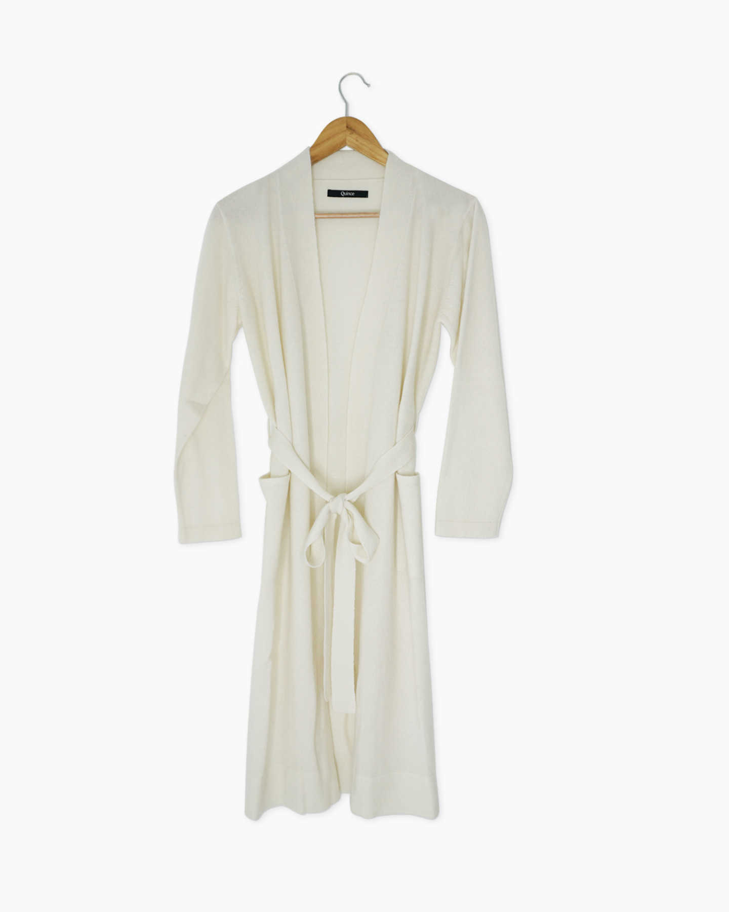 Cashmere robe womens in ivory from the front