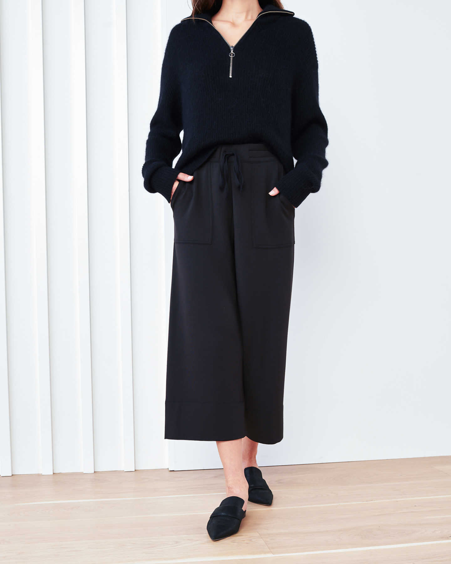SuperSoft Fleece Wide Leg Pants - Black - 5