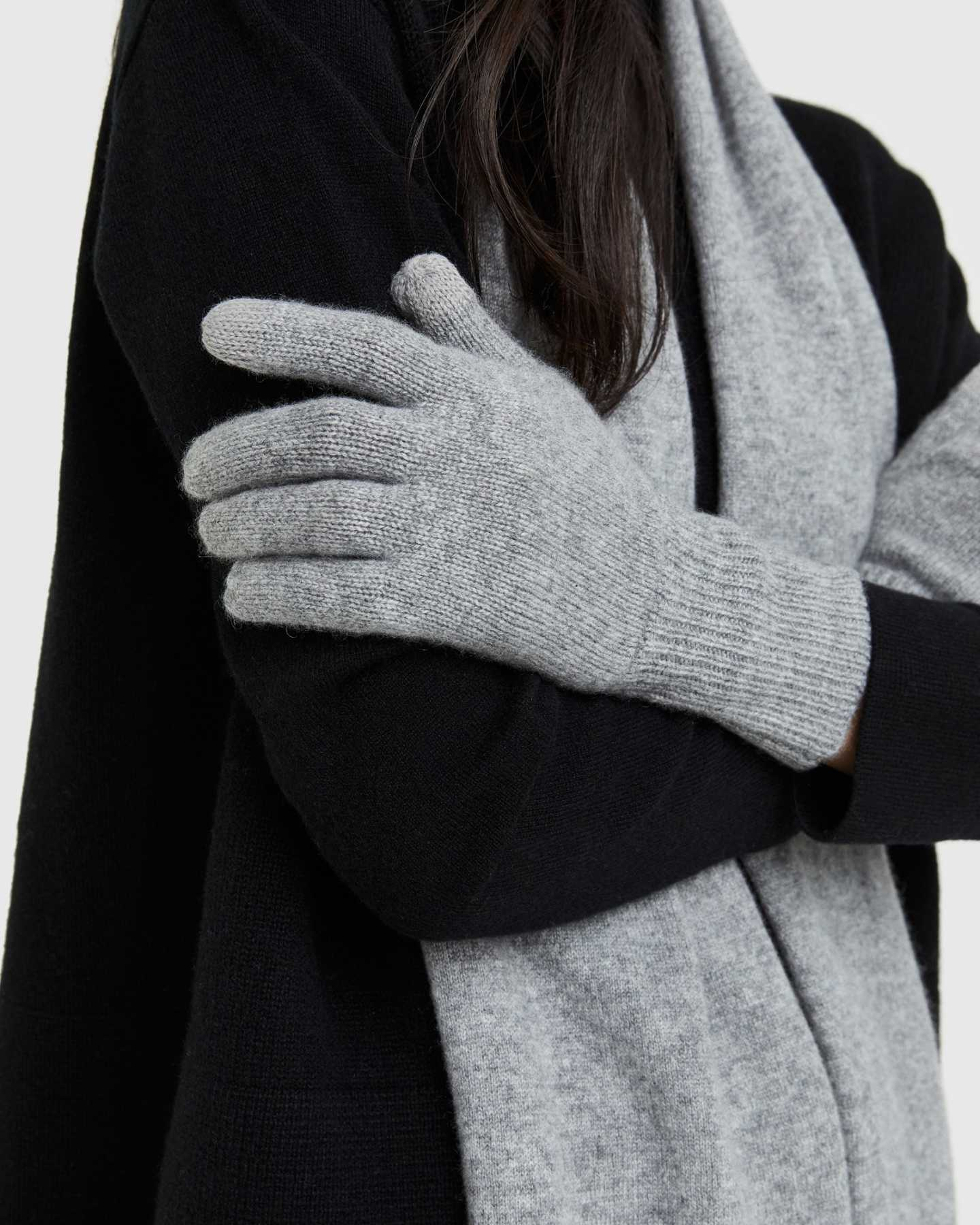 Mongolian Cashmere Gloves - Heather Grey
