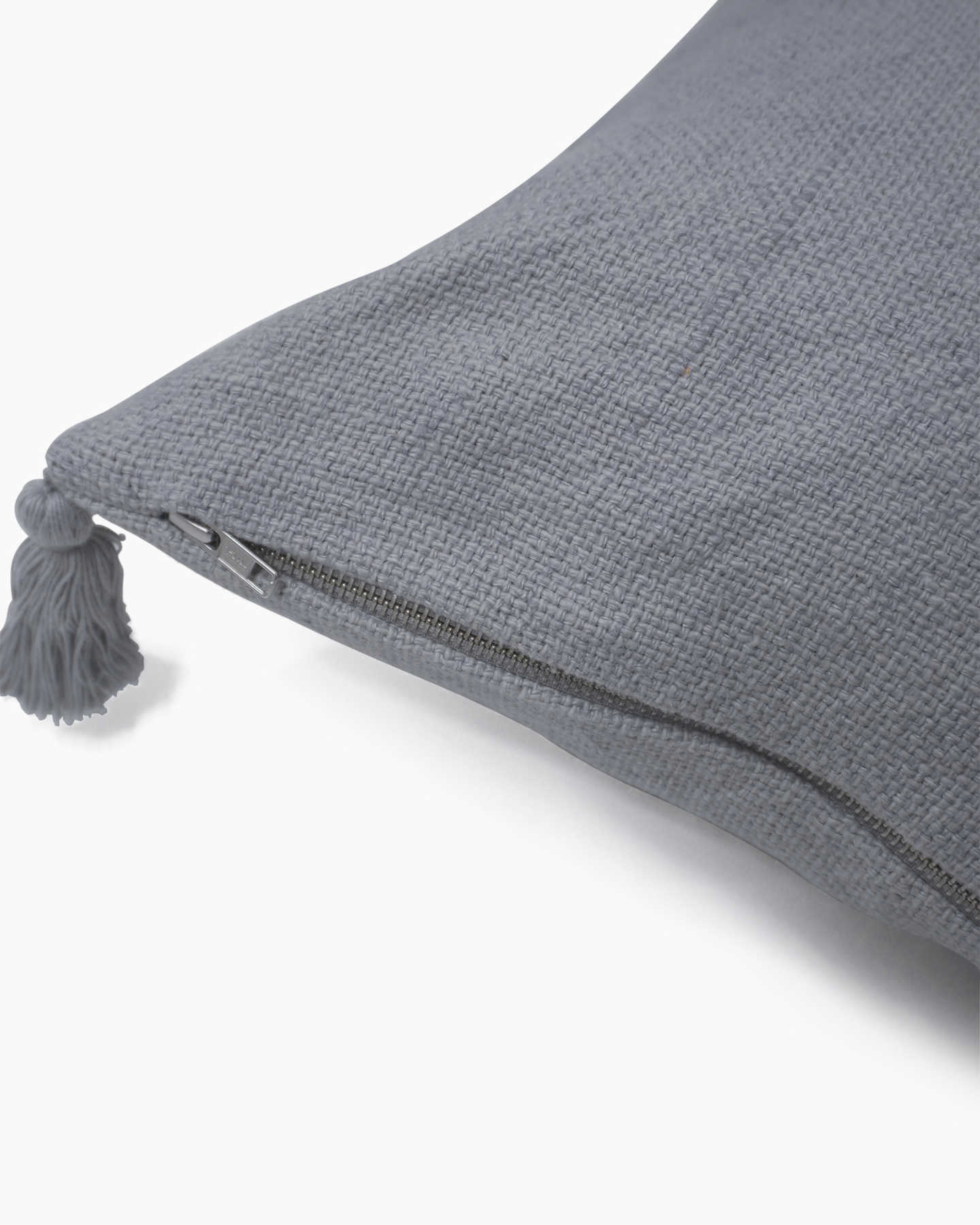 Linen Tassel Pillow Cover - Grey - 1