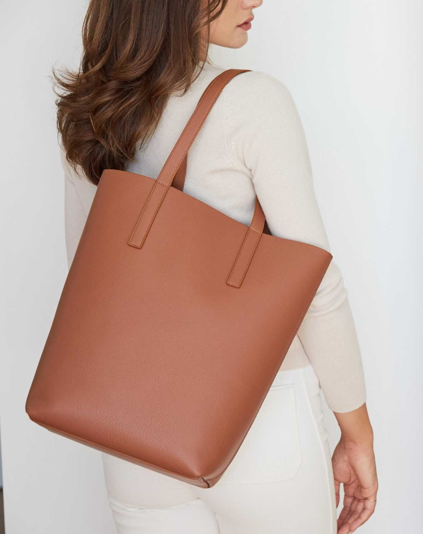 Tall Italian Leather Tote - Cognac - 5