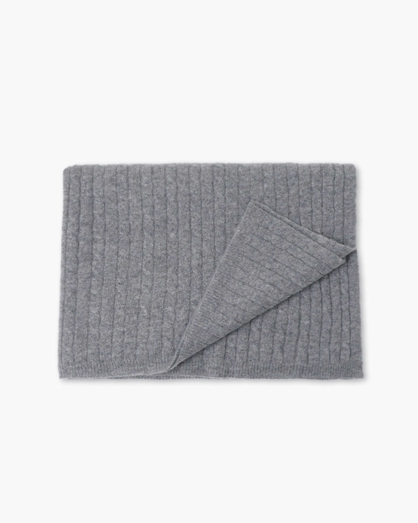 Cable Knit Cashmere Throw - Heather Grey