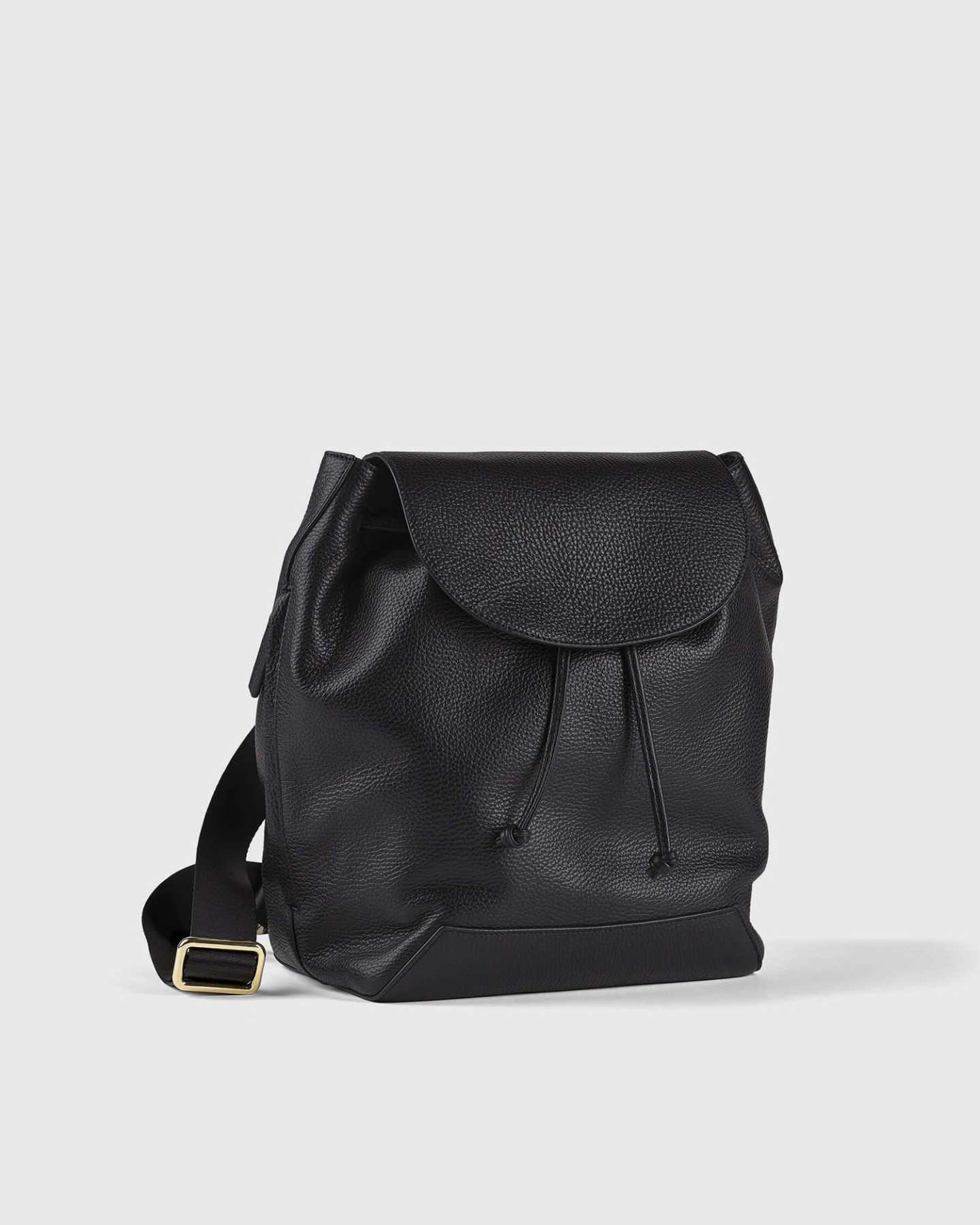 Italian Pebbled Leather Backpack - Black