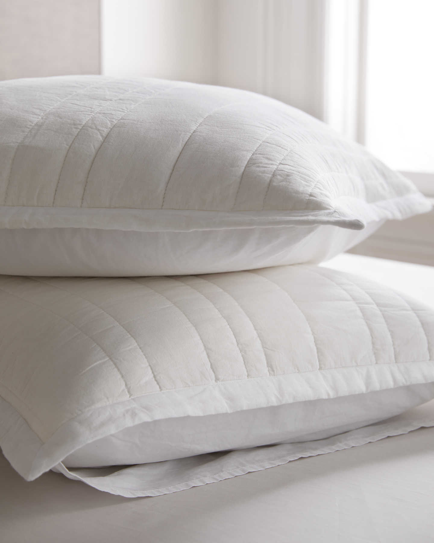 100% Organic Cotton Quilted Sham Set - White - 1