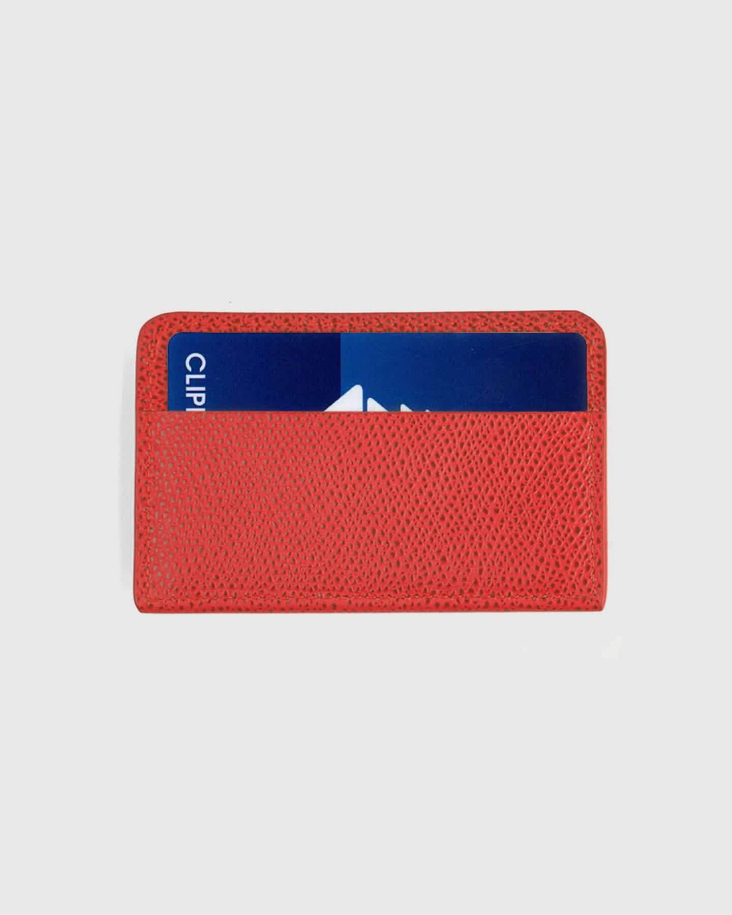 Embossed Leather Card Case - Red