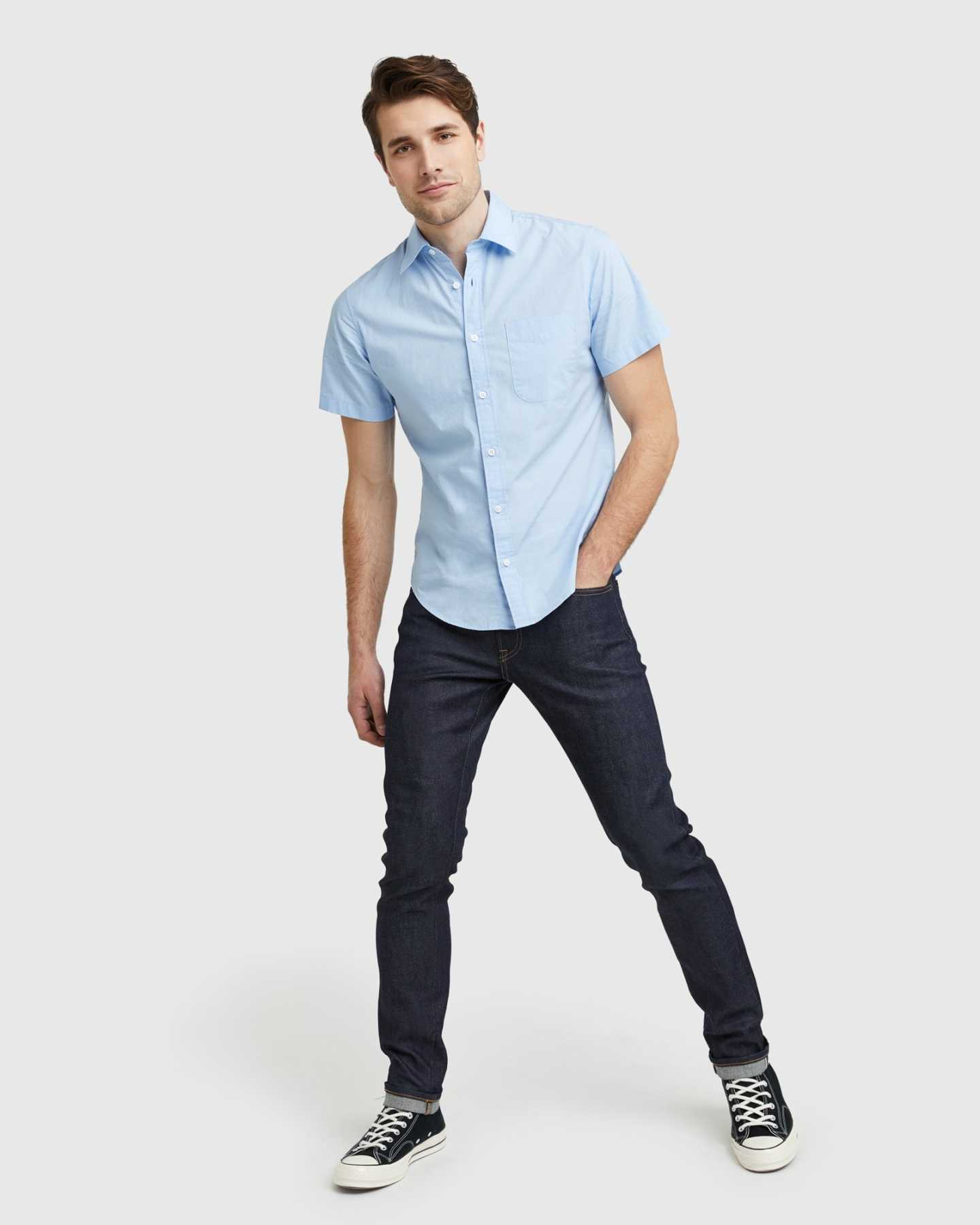 Organic Short Sleeve Stretch Poplin Shirt - Light Blue - 7
