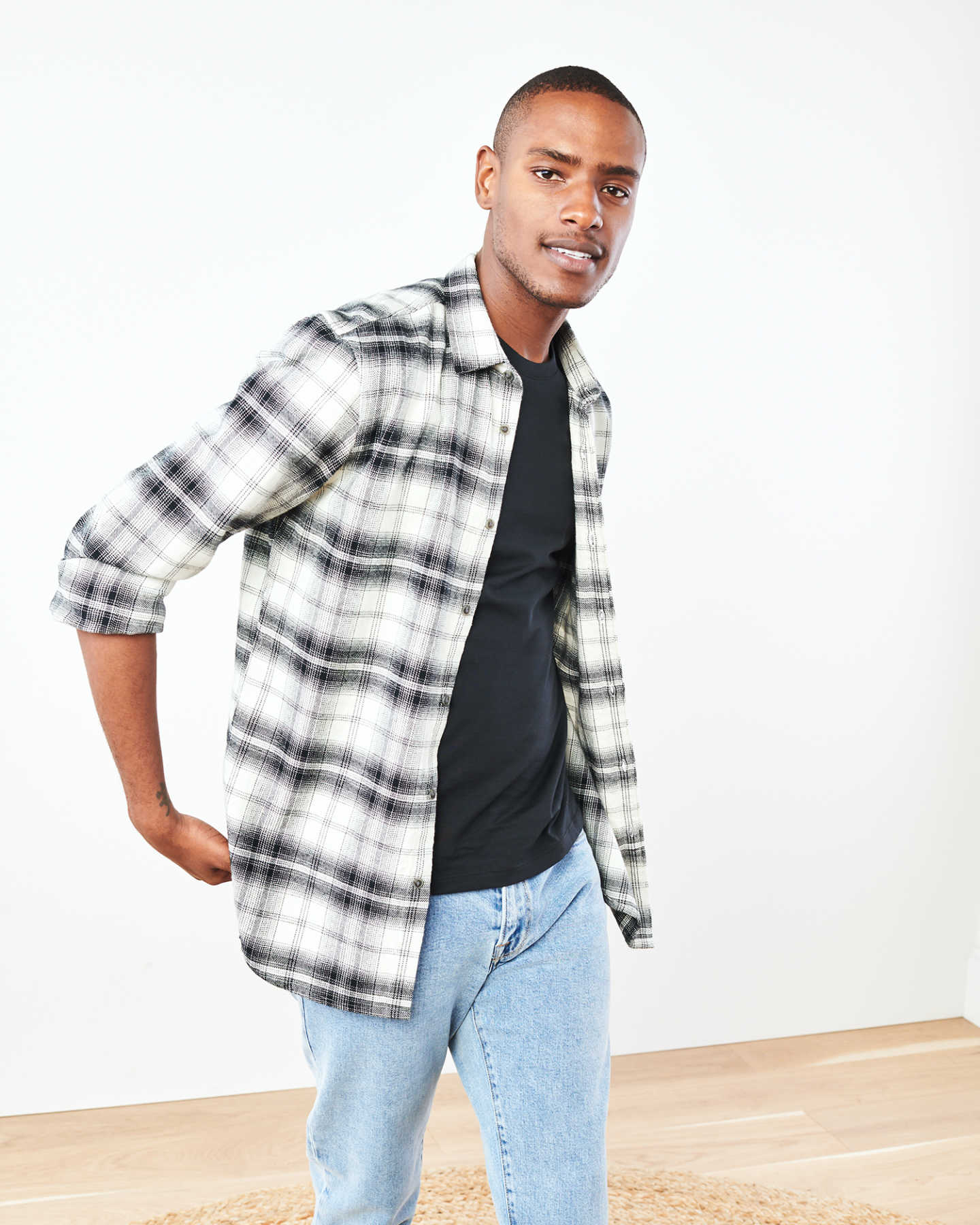 Heavy Plaid Flannel Overshirt - Black/White - 6