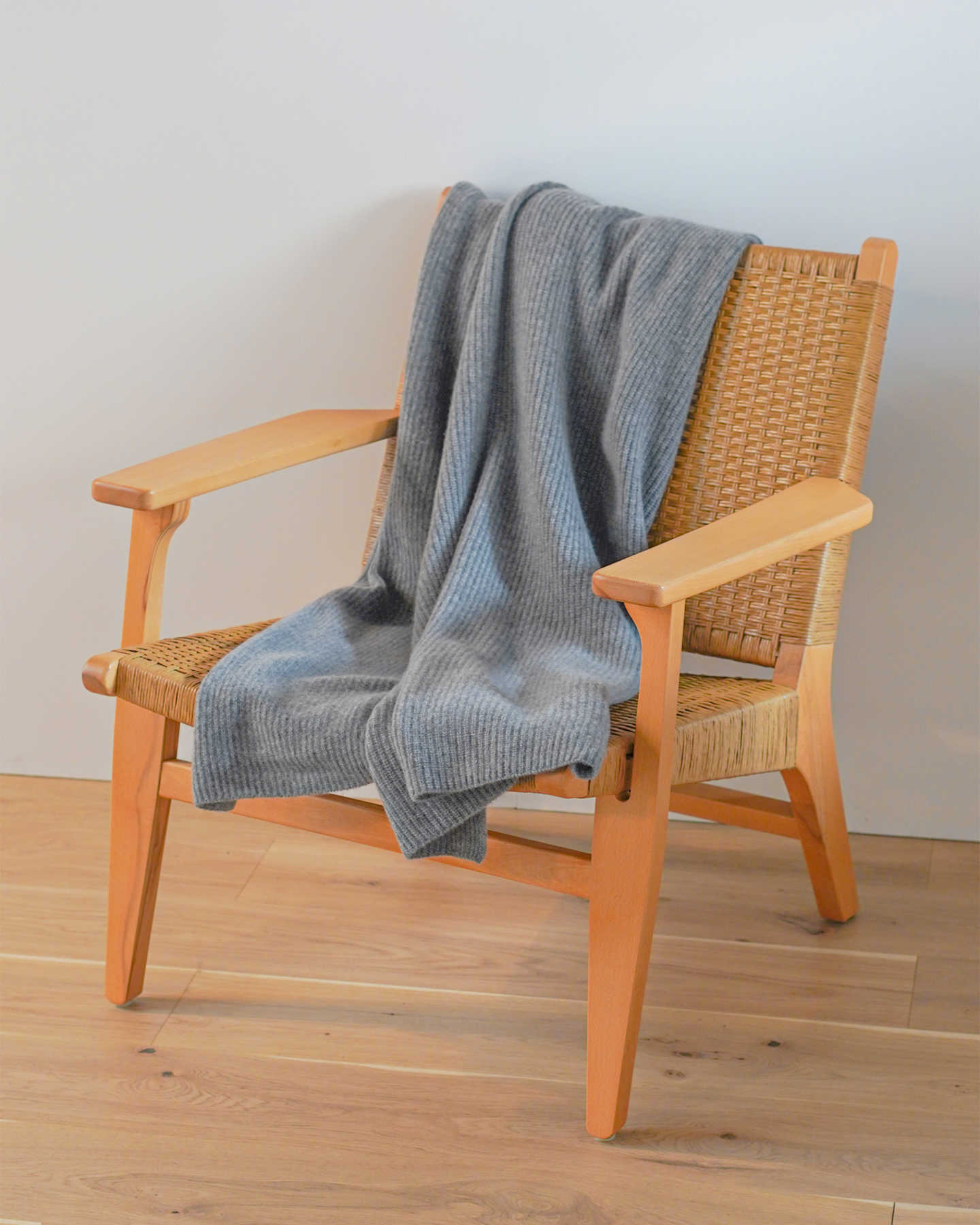 Ribbed Knit Cashmere Throw - Heather Grey - 2 - Thumbnail