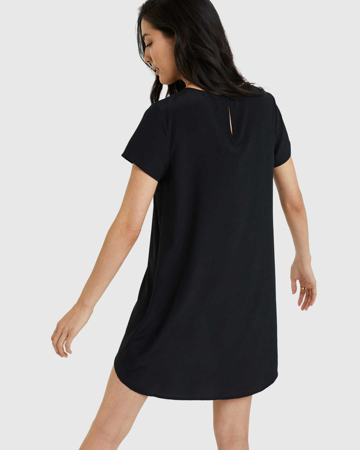 Washable Stretch Silk Tee Dress - Black - 1