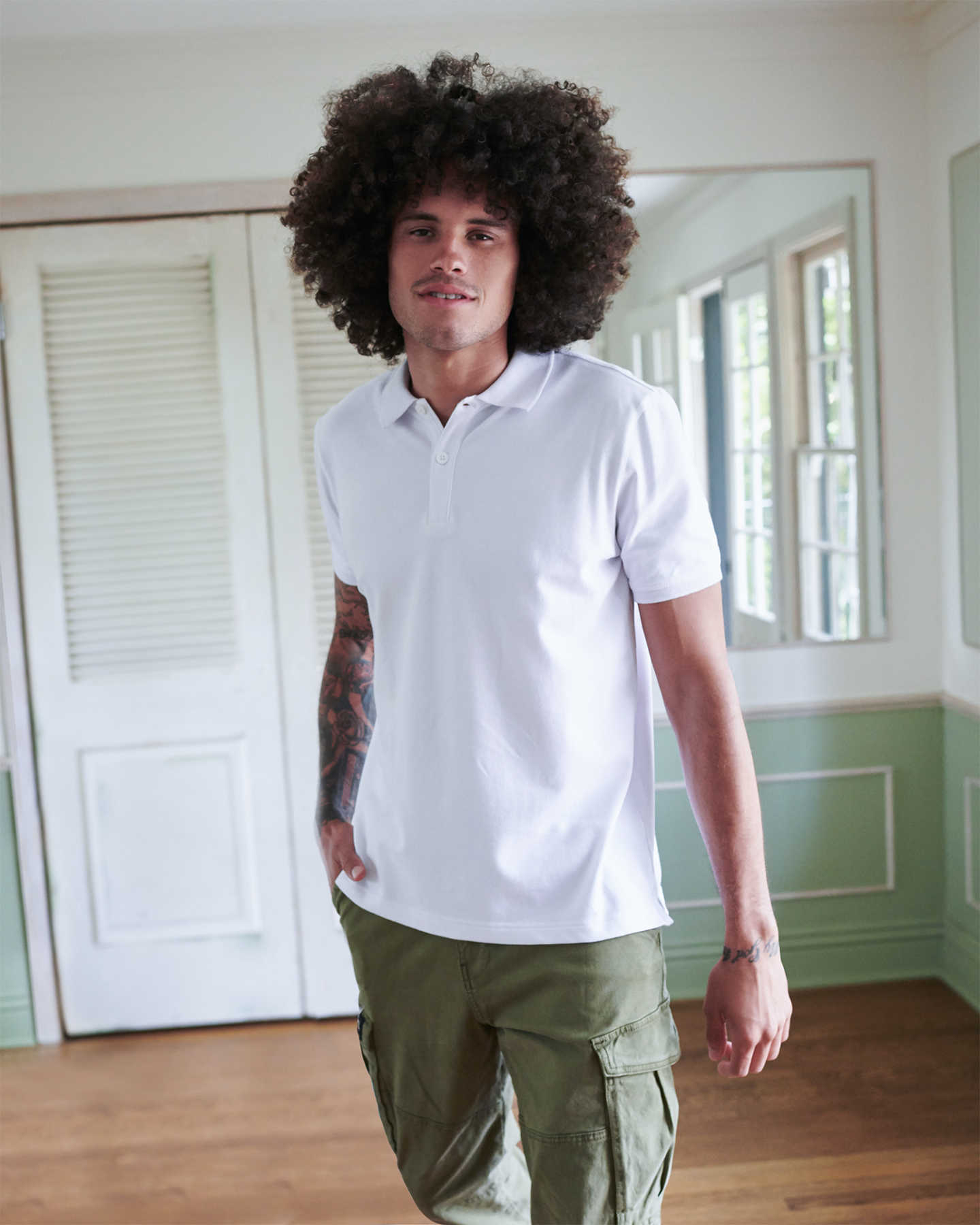 Organic Stretch Luxe Pique Polo - White