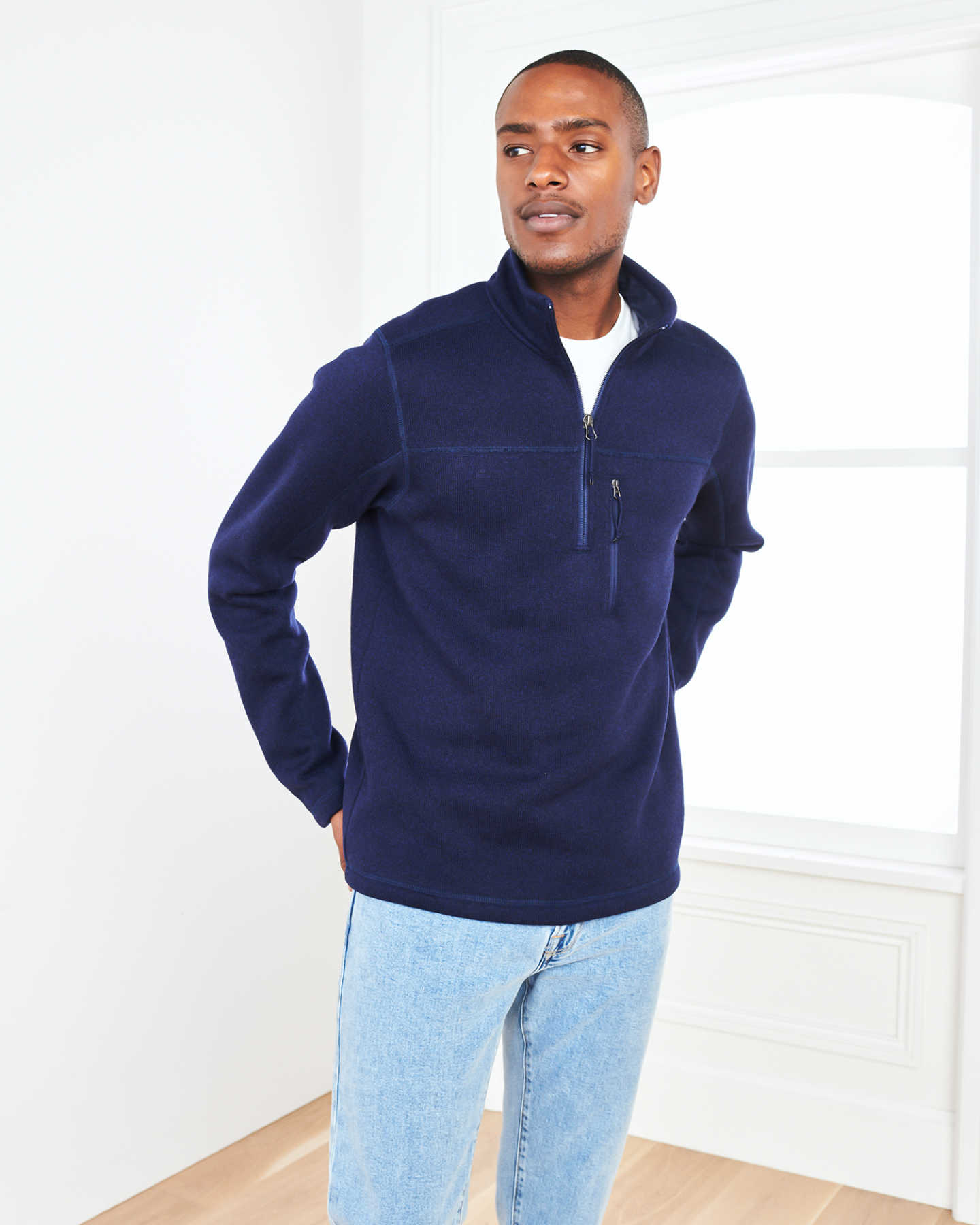 Recycled Sweater Fleece Pullover Jacket - Navy