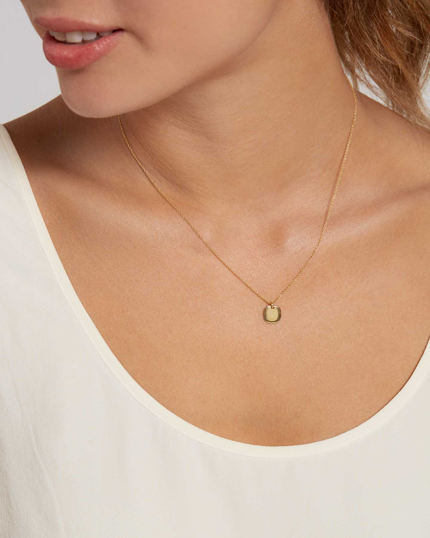 Gold Disc Necklace - Gold Vermeil - 1