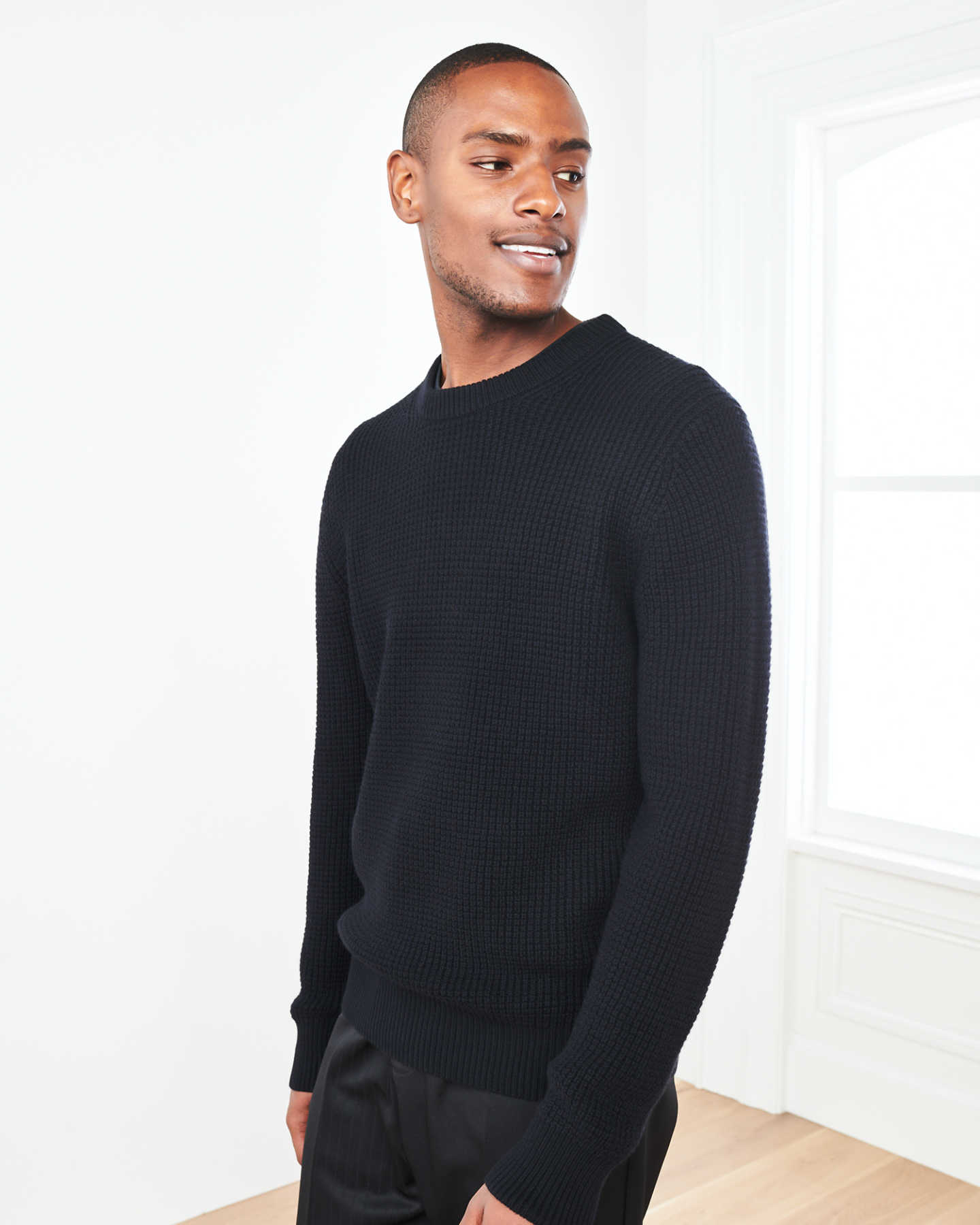 Australian Merino Fisherman Sweater - Black