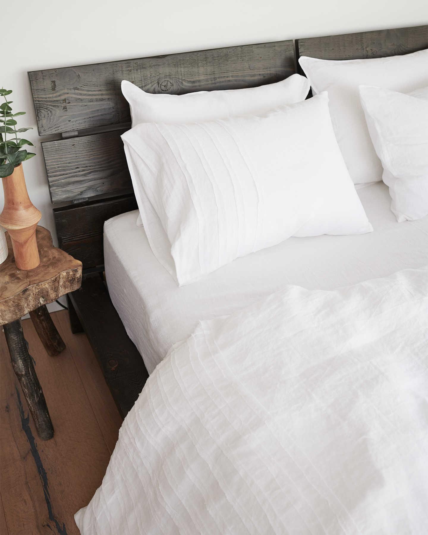 French Linen Duvet Cover Set - Rouching - 1