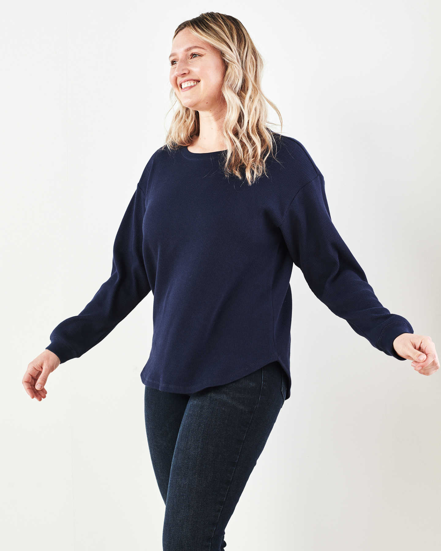 Luxe Organic Waffle Thermal Crew - Navy - 7
