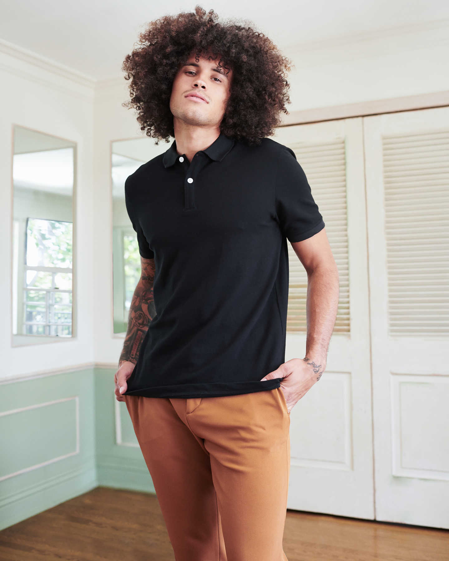 Organic Stretch Luxe Pique Polo - Black - 1 - Thumbnail