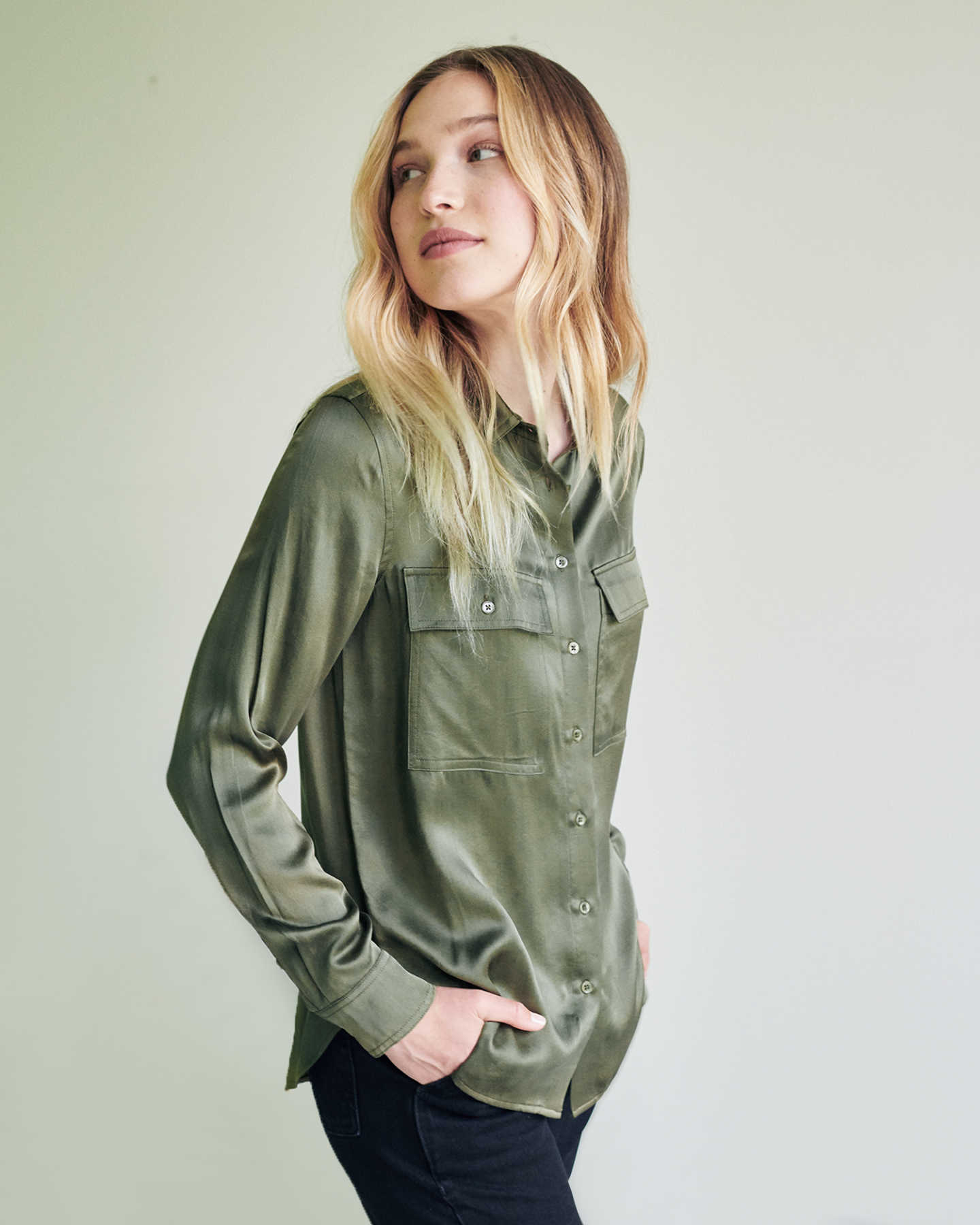 Washable Silk Two Pocket Blouse - Military Olive