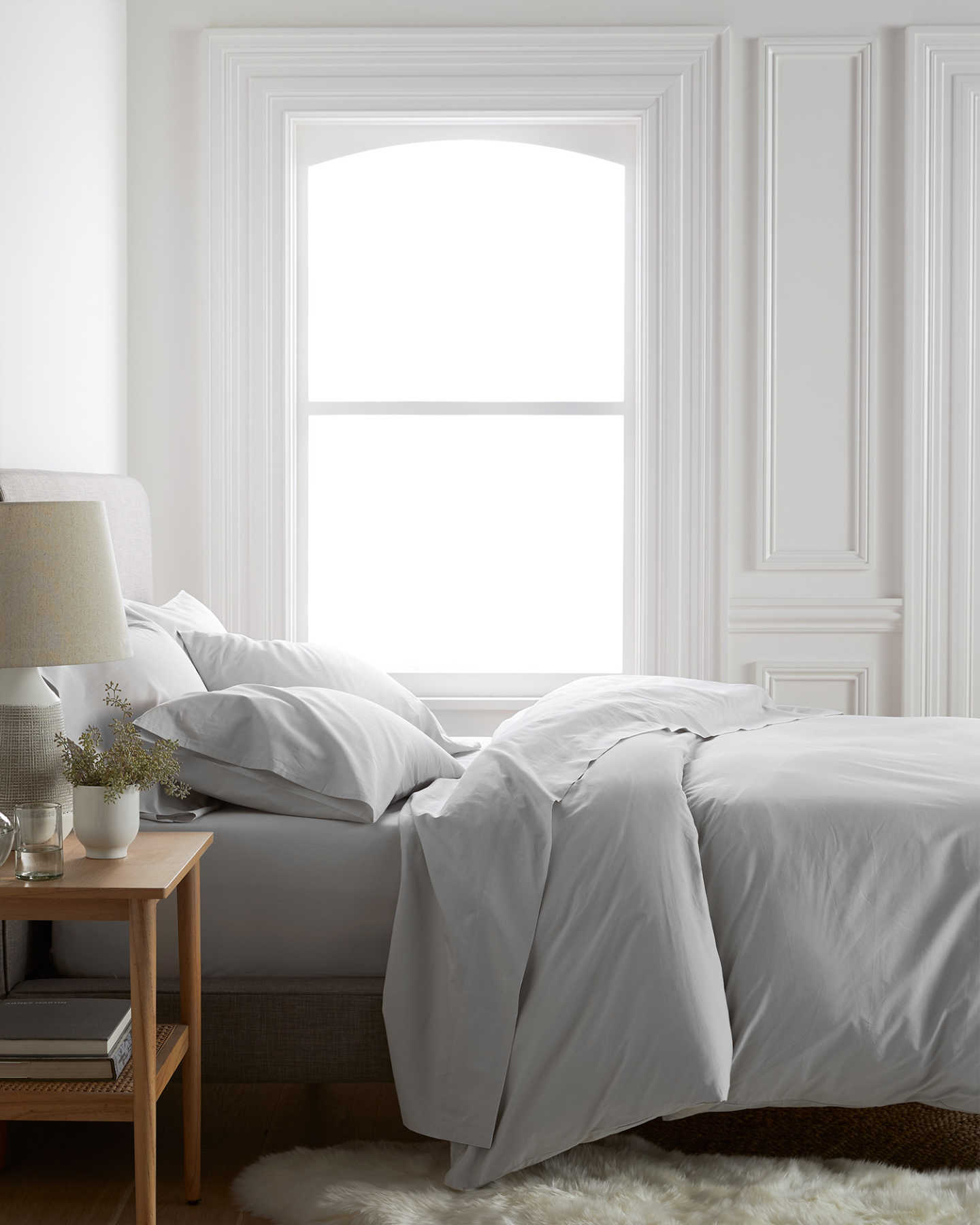 Organic Percale Luxe Duvet Cover Set - Light Grey - 2
