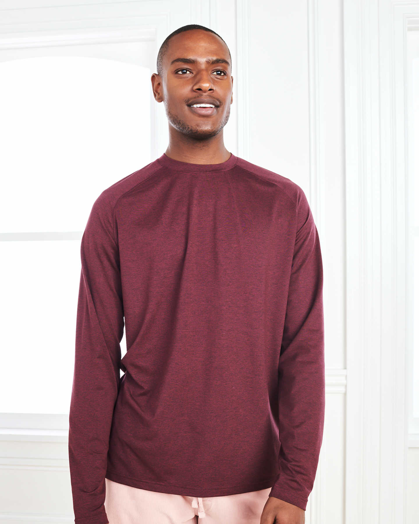 Flowknit Ultra-Soft Performance Long Sleeve Tee - Burgundy