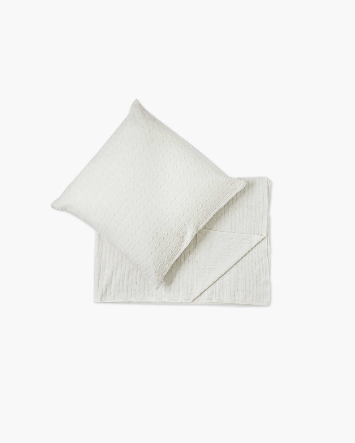 Cable Knit Cashmere Throw & Pillow Cover Set - Ivory