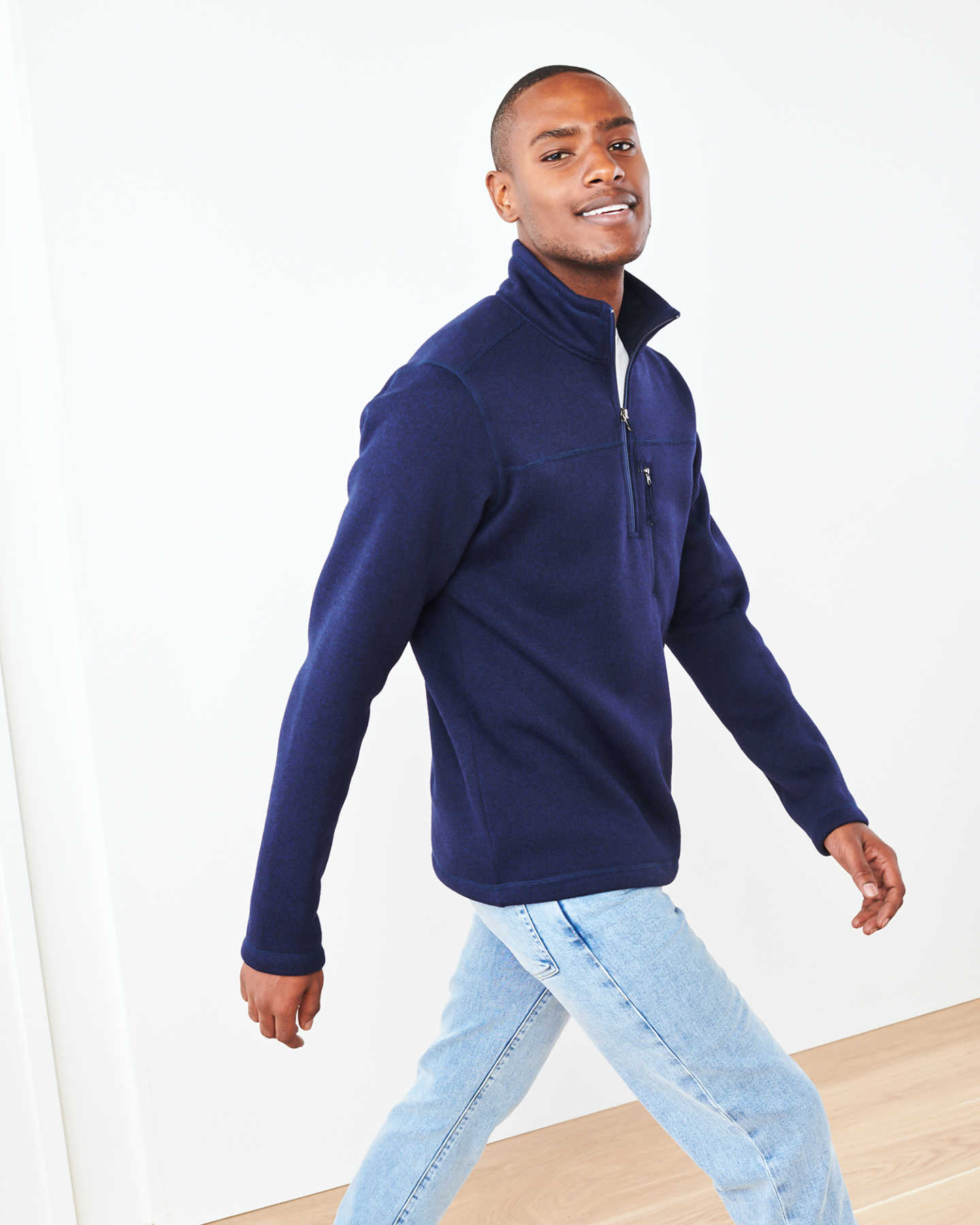 Recycled Sweater Fleece Pullover Jacket - Navy - 3